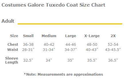 Costumes Galore Tux Coat Adult Size Chart