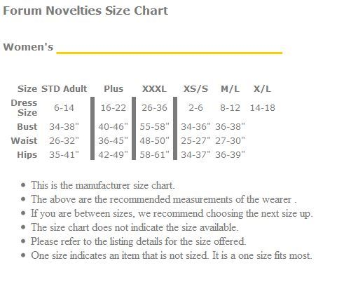 Forum Novelties Womens Size Chart