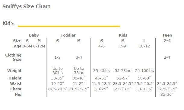 Smiffy's Kid's size chart