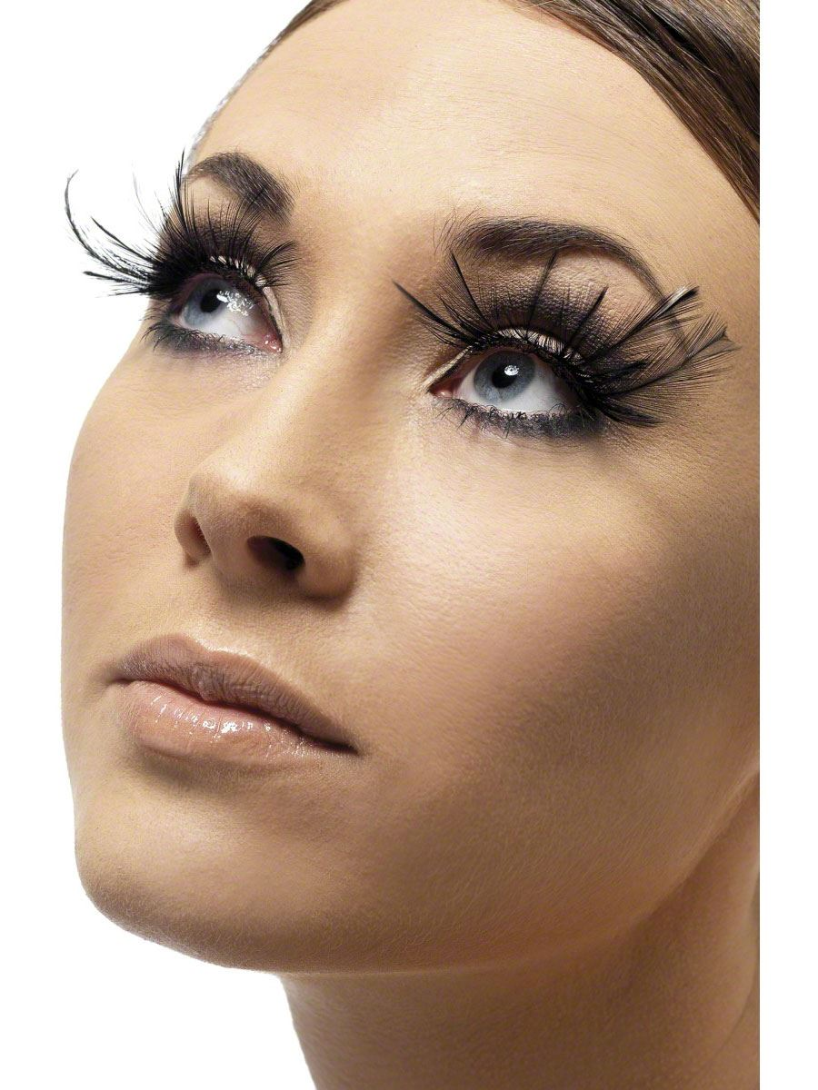 Feather Plume Eyelashes Black Adult Halloween Cristmas Womens Makeup