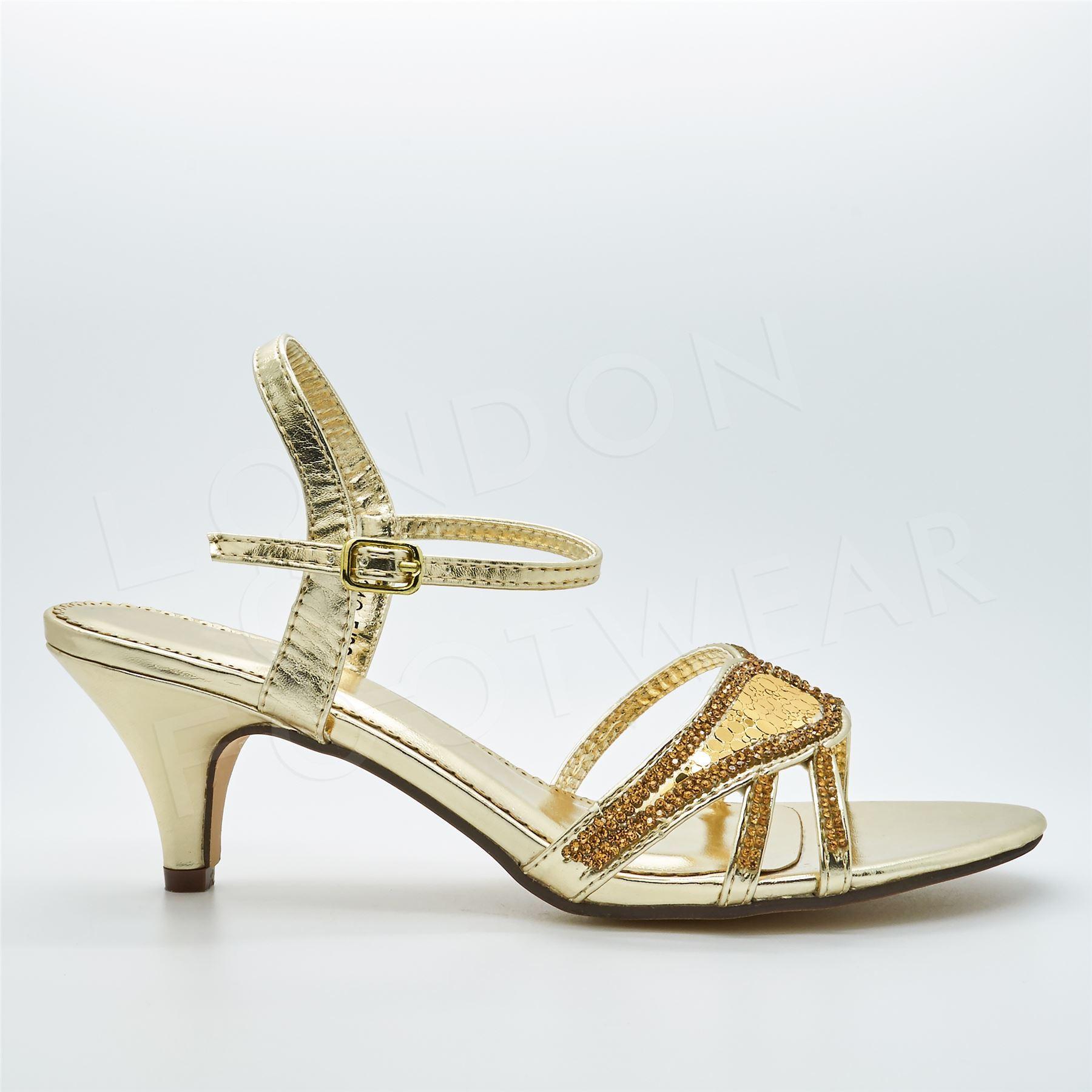 8b2ec9e10a5 New Womens Diamante Low Kitten Heels Strappy Sandals Ladies Bridal ...