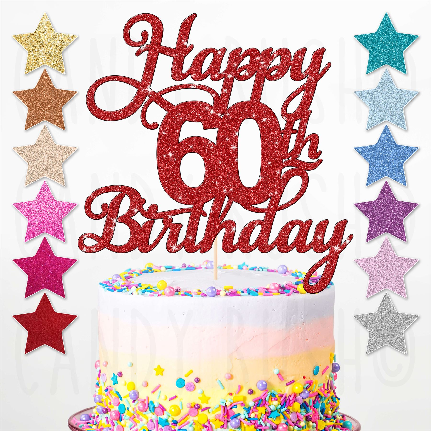 Happy 60th Birthday Cake Topper Sixty Daughter Son Sister