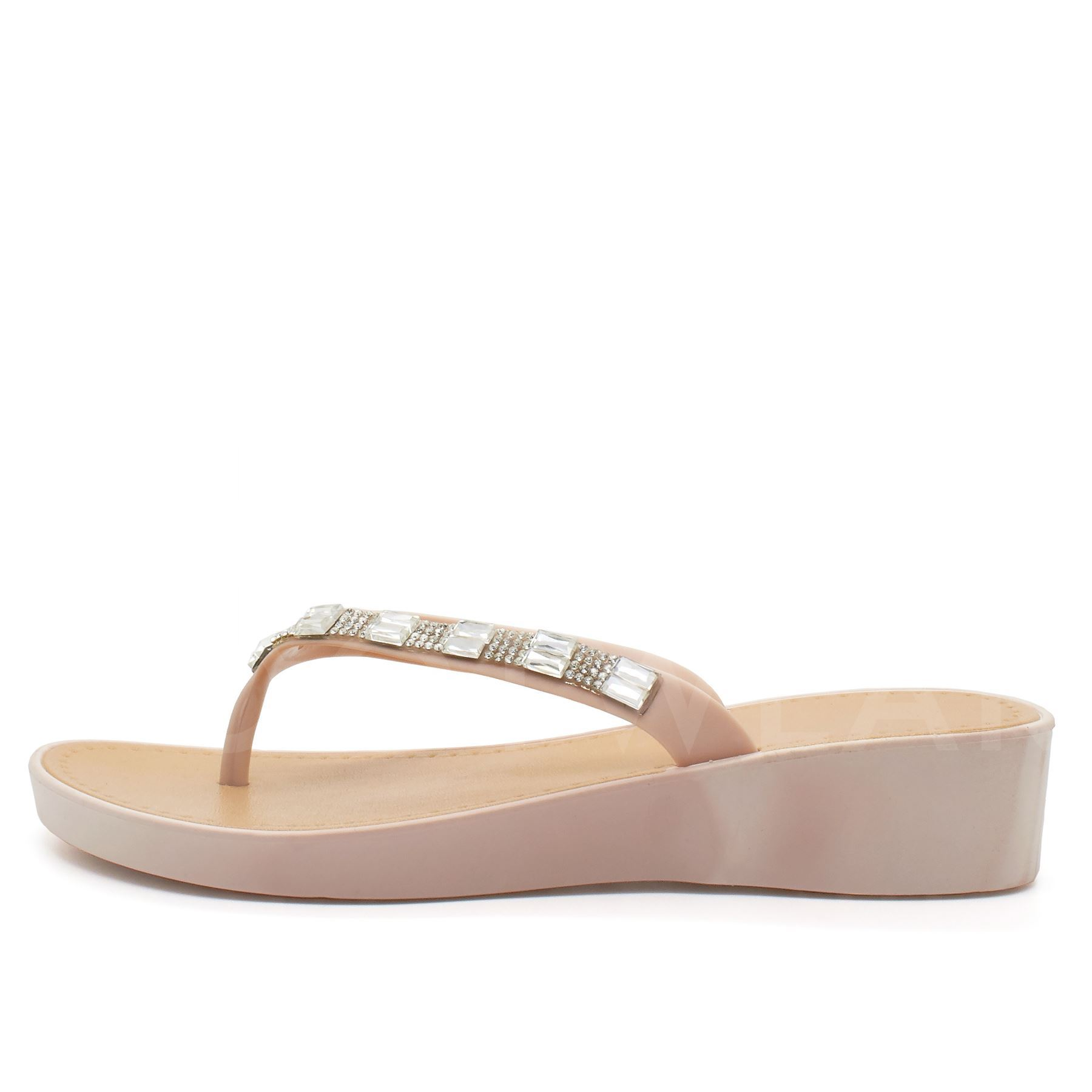 New Womens Low Wedge Heel Sandals Ladies Diamante Flip -3433