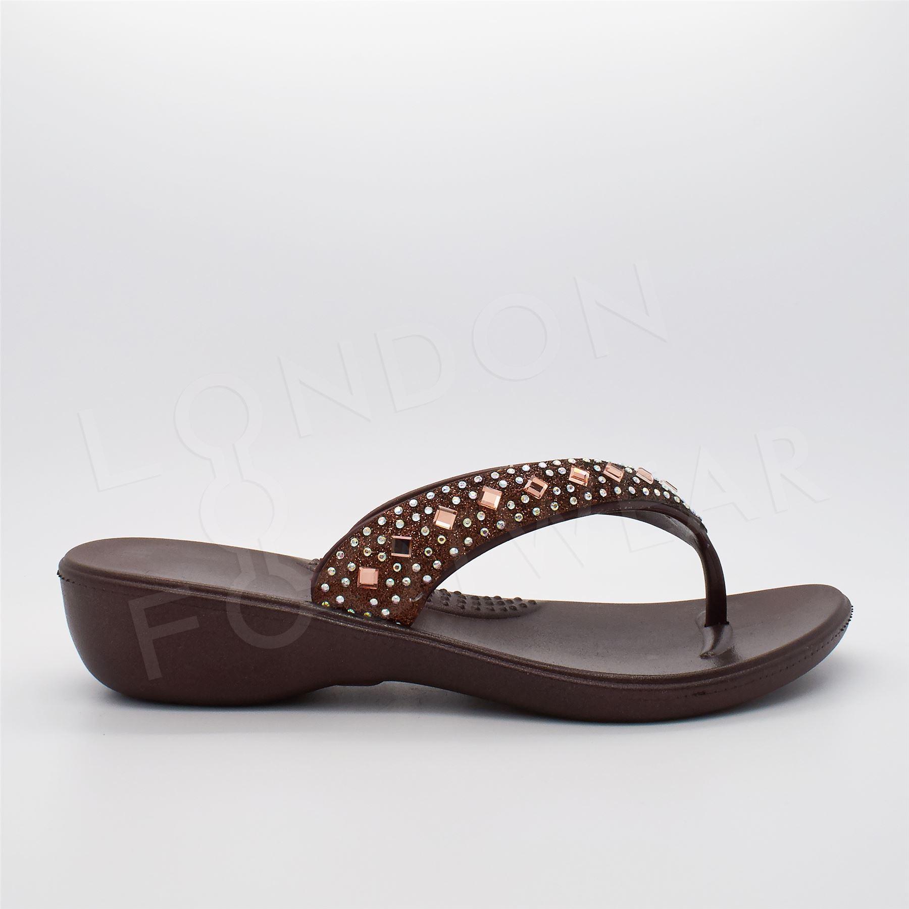 ladies diamante flip flops womens low wedge summer toe. Black Bedroom Furniture Sets. Home Design Ideas