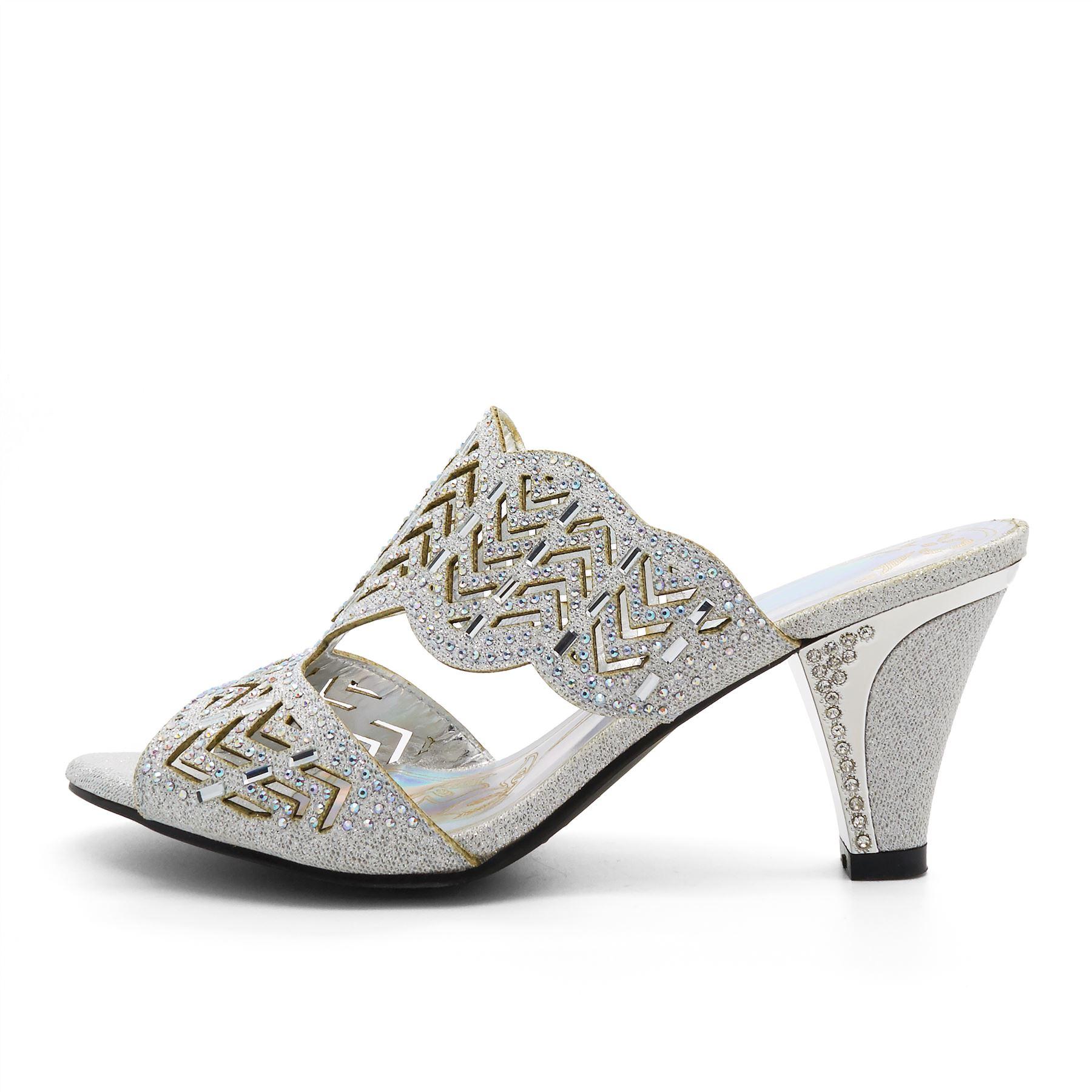 Womens Low Kitten Heel Diamante Sandals UK 3
