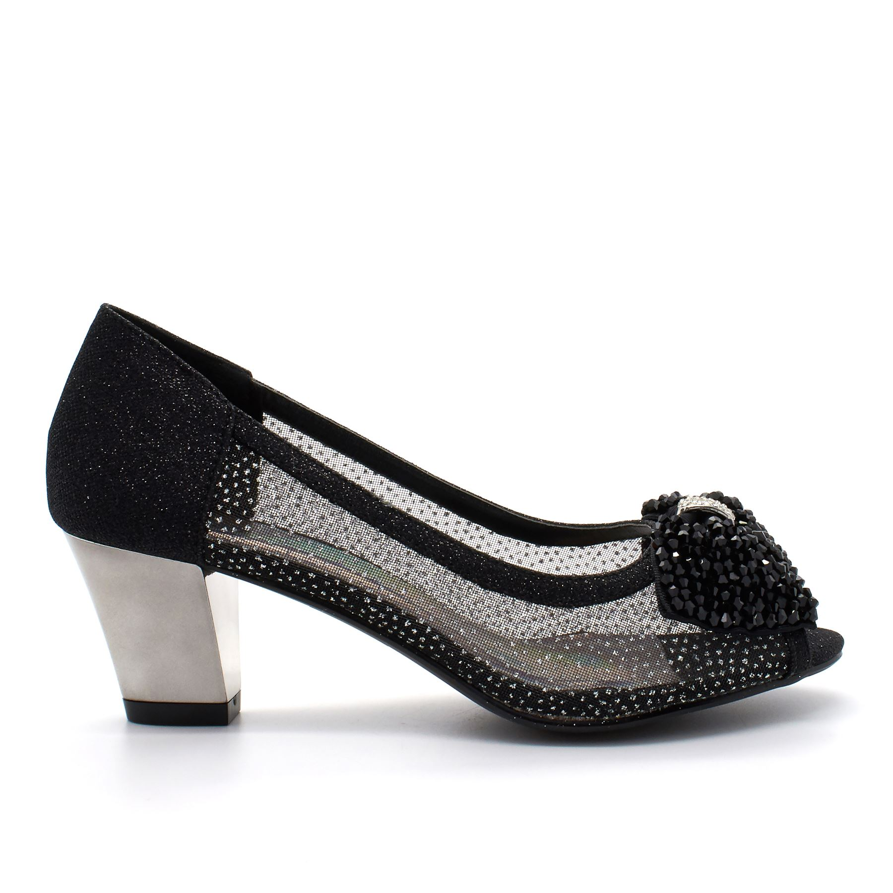 8ec920ca2869 Womens Diamante Sparkling Low Kitten Block Heel Shoes Ladies Sandals ...