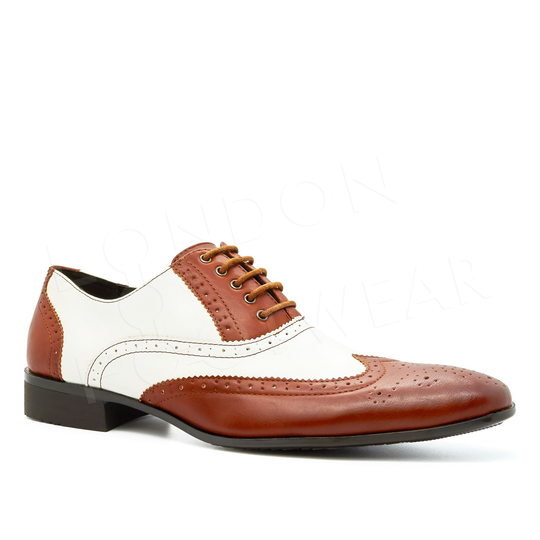 Oxford Two Tone Tan And Black Shoes Mens