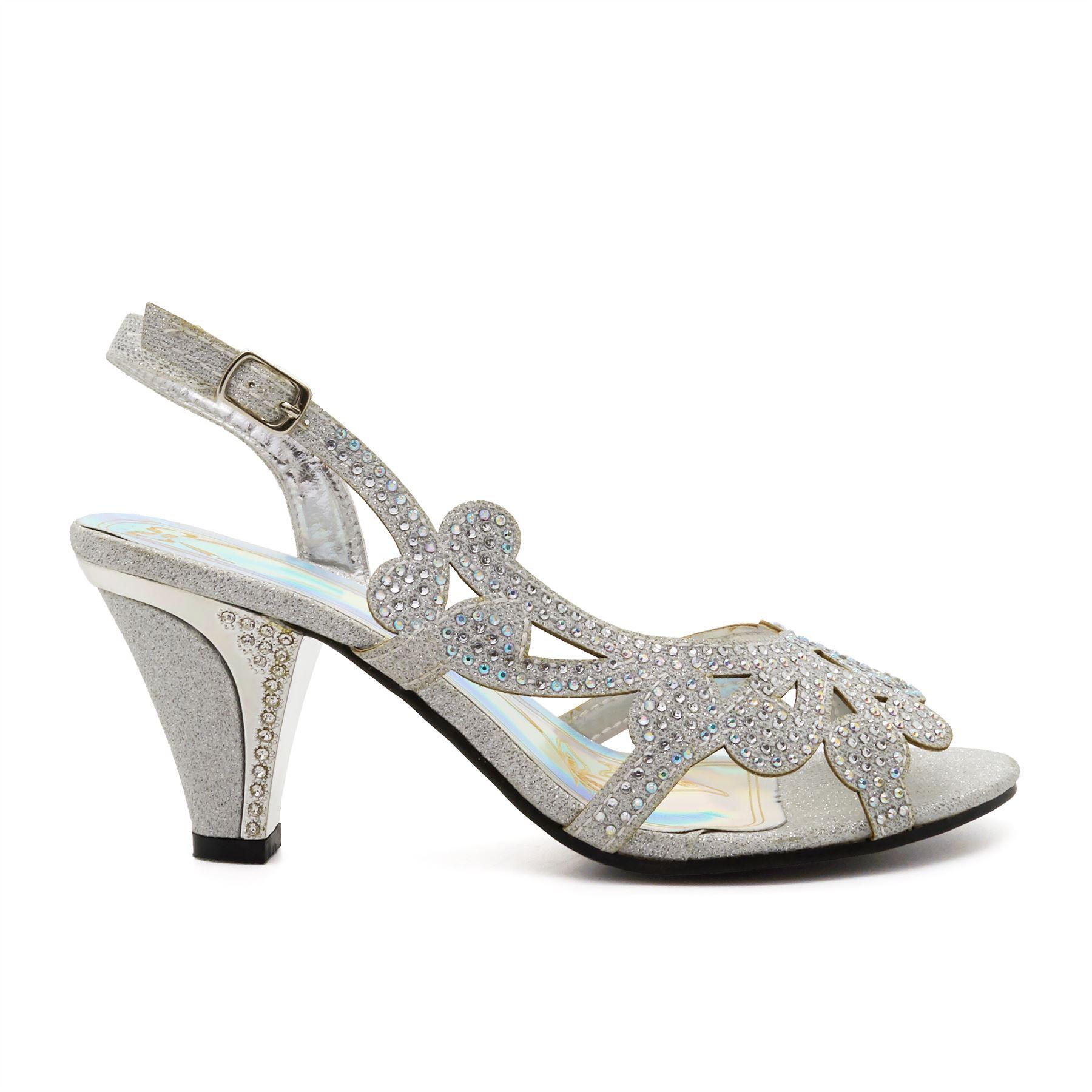 c41c57f1dd2 New Ladies Low Mid Kitten Heel Diamante Sandals Womens Bridal ...