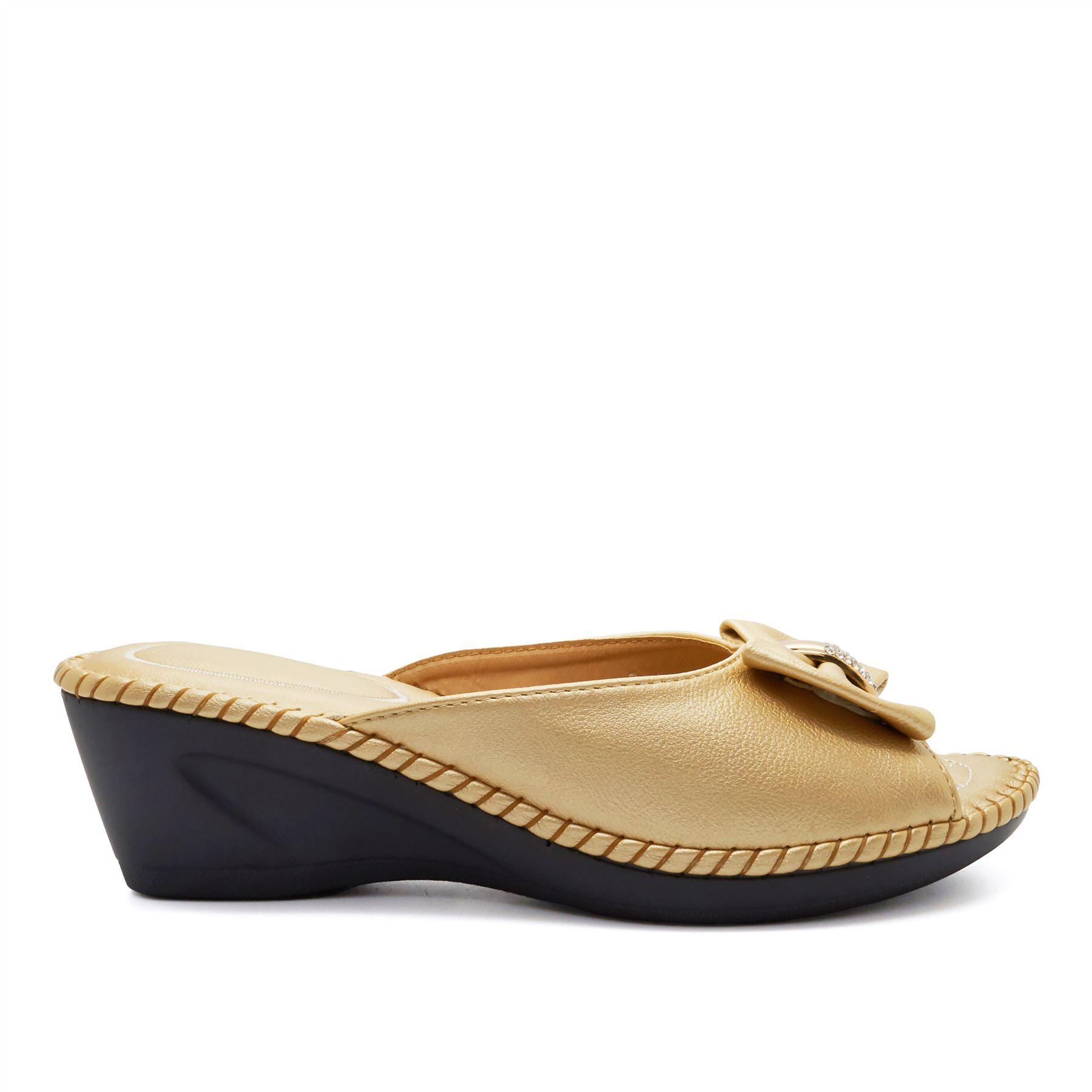 Nuevo Damas Tacón Bajo Cuña Diamante Mula Sandalias zapatos para mujer Slip On Size UK 3-8
