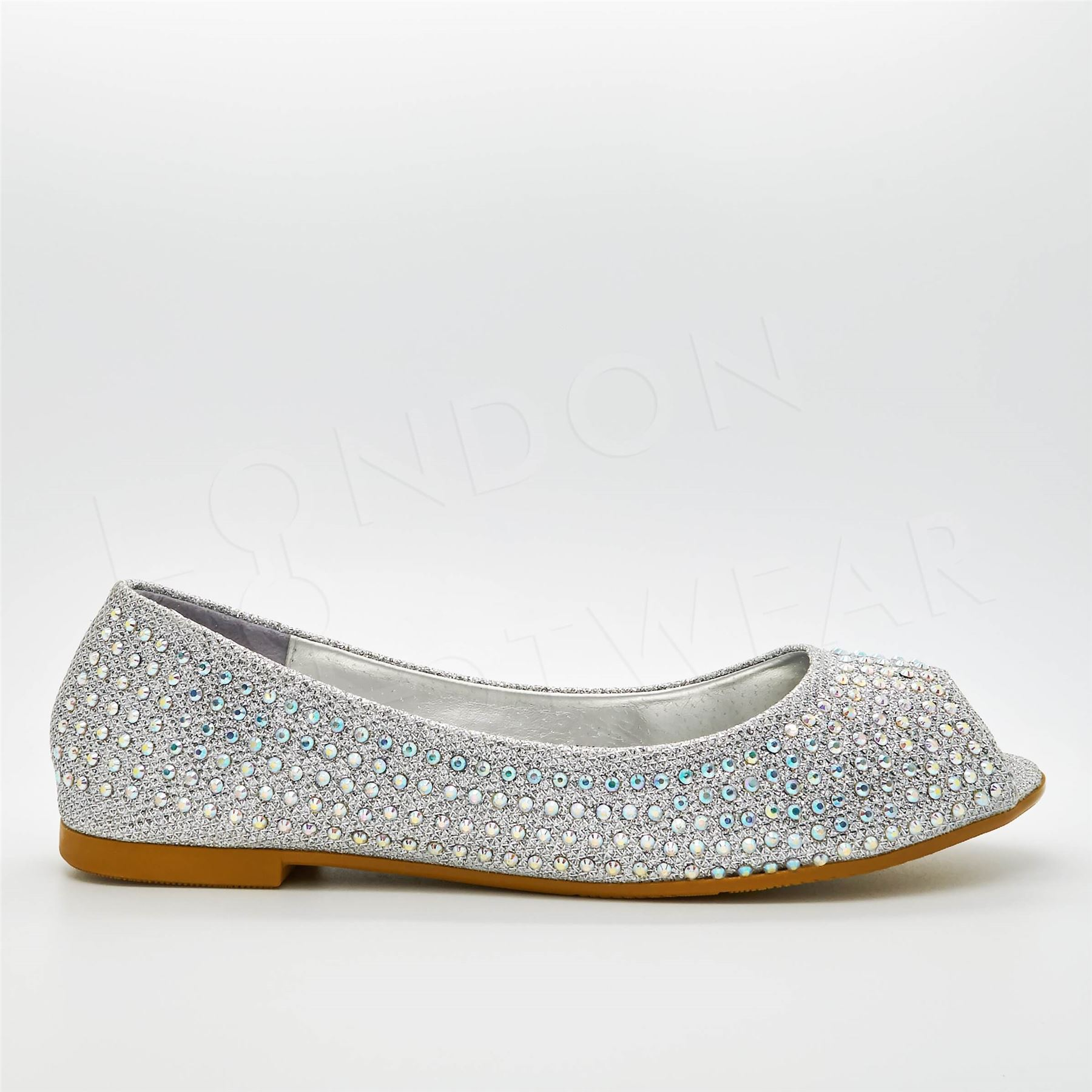 New Womens Diamante Ballet Flats Peep