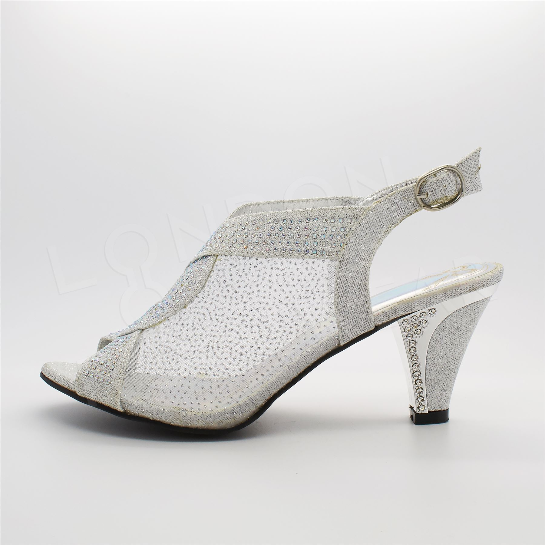 womens diamante glitter evening shoes mid heel