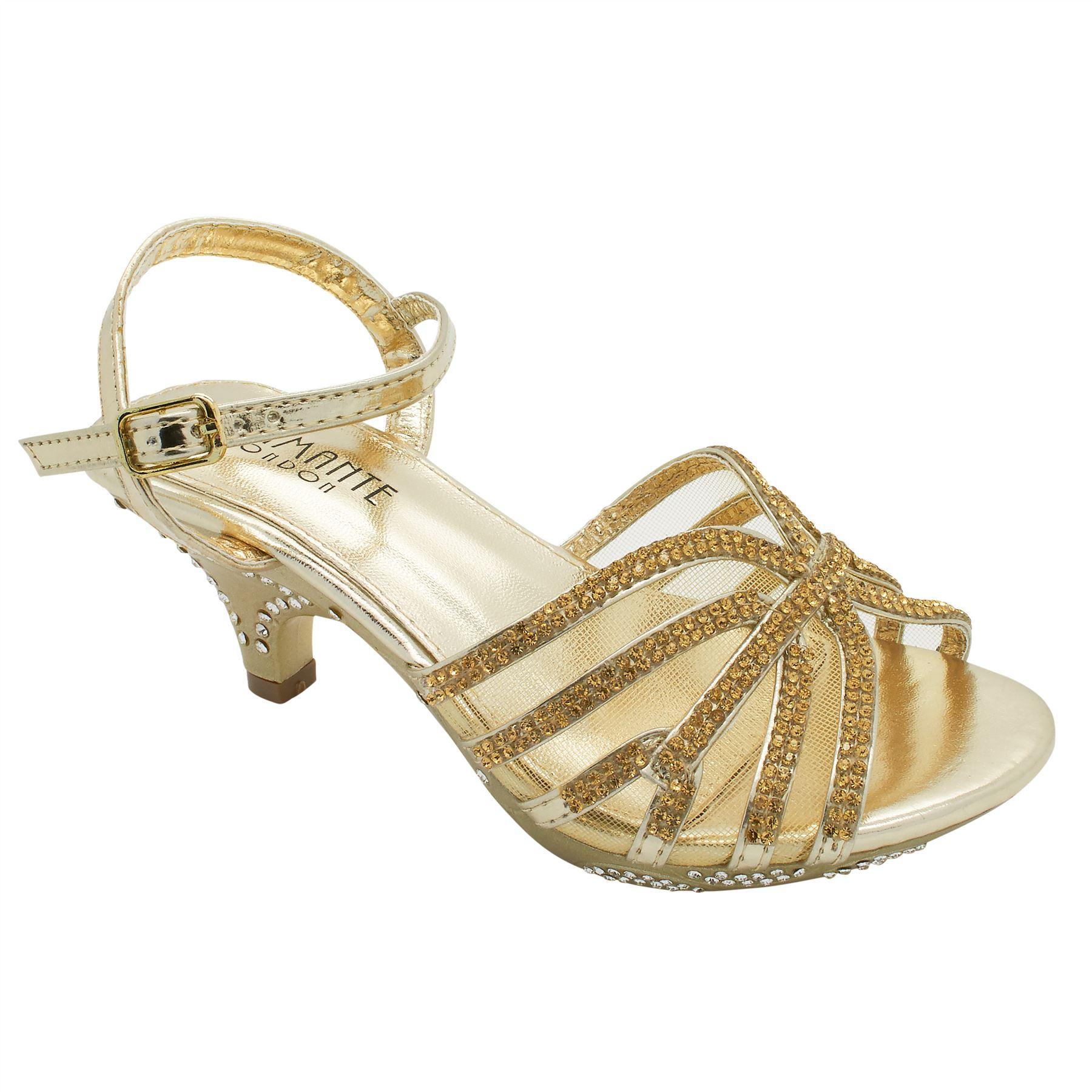 Girls Diamante Bridal Low Kitten Heel Shoes Childrens
