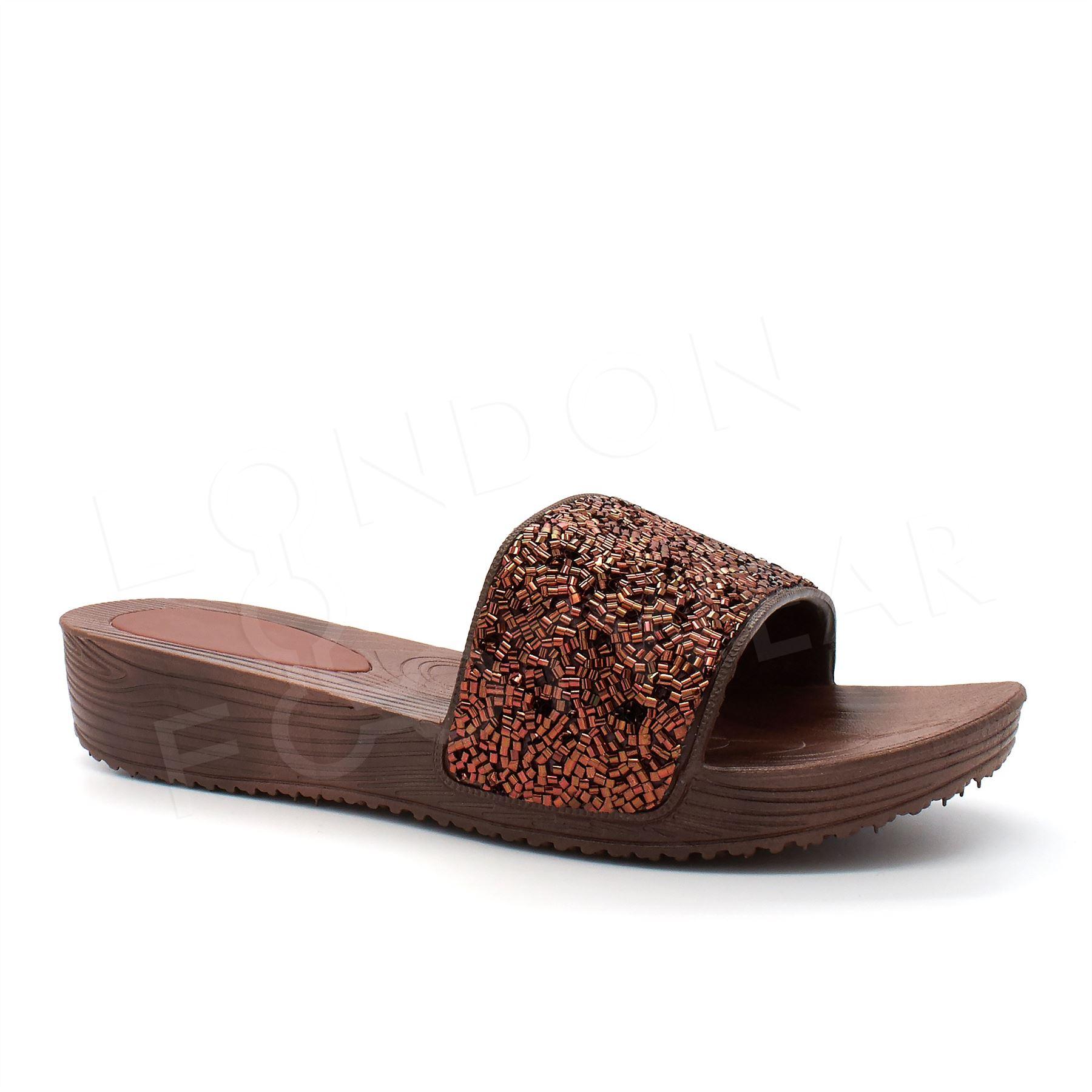 New Womens Ladies Summer Sandals Low Wedge Heel Comfort ...