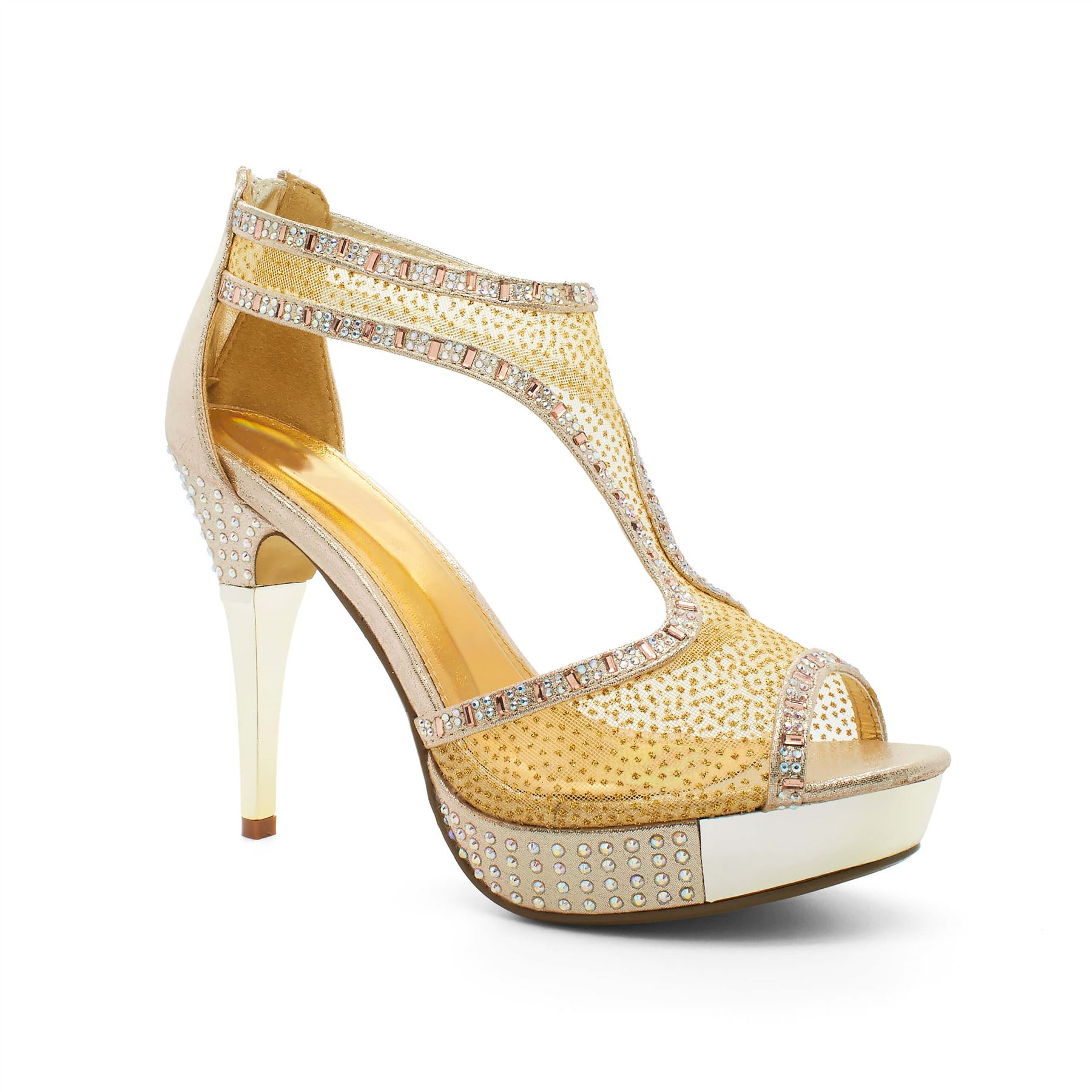 womens high wedding diamante platform heel bridal