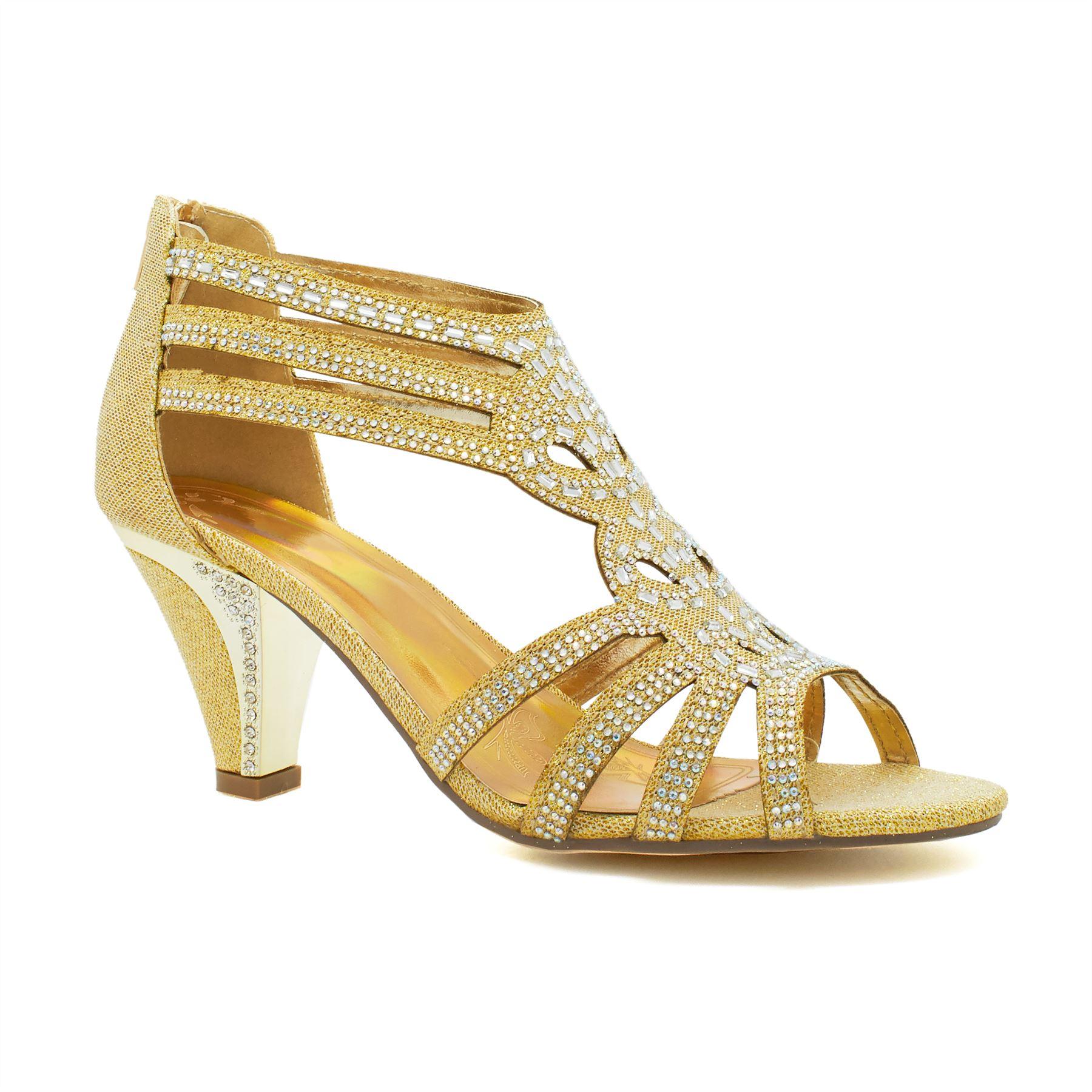 New Womens Diamante Low Kitten Heel Sandals Ladies