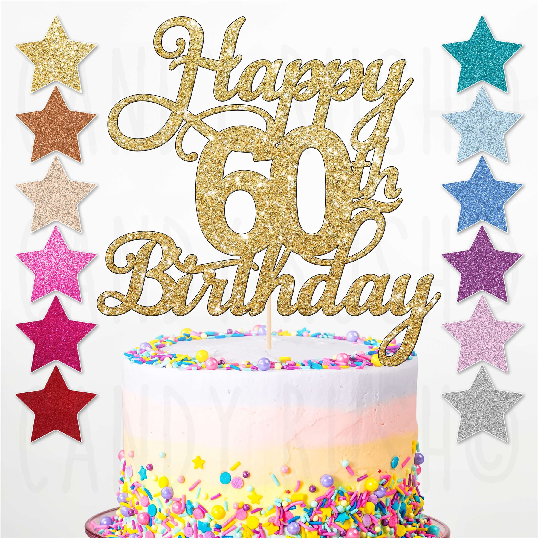 Happy 60th Birthday Cake Topper Sixty Daughter Son Sister ...