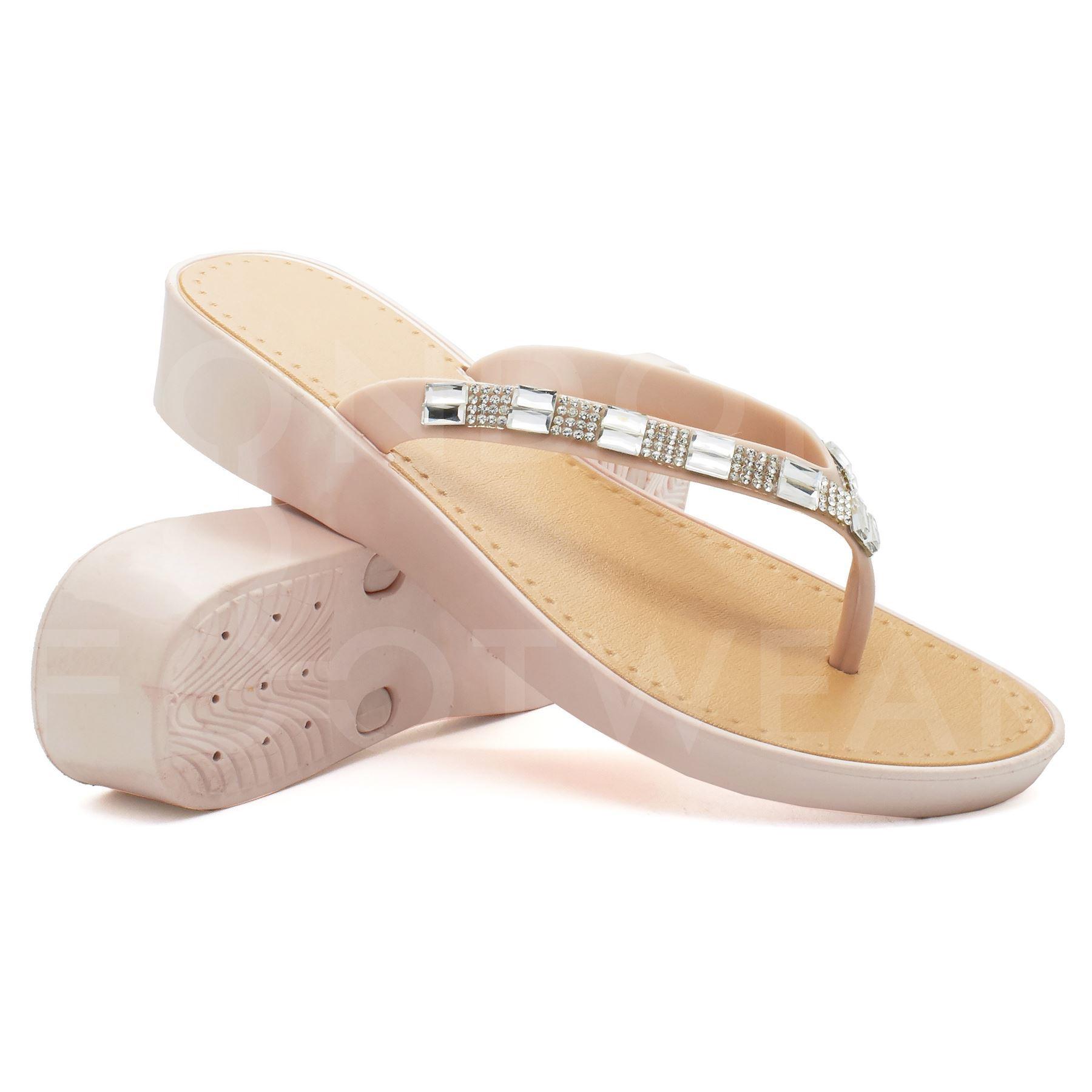 New Womens Low Wedge Heel Sandals Ladies Diamante Flip -7090