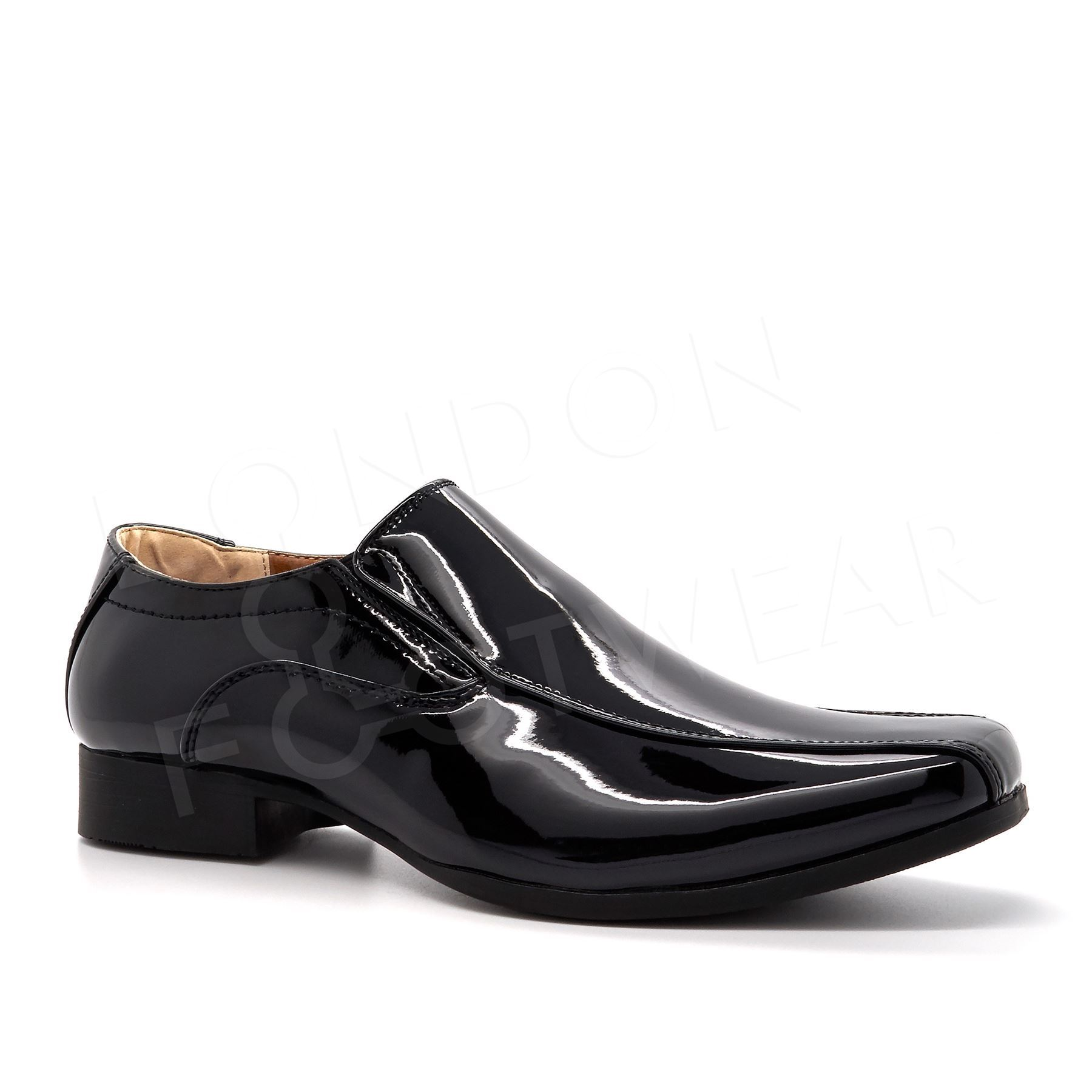 boys new patent leather slip on formal shoes