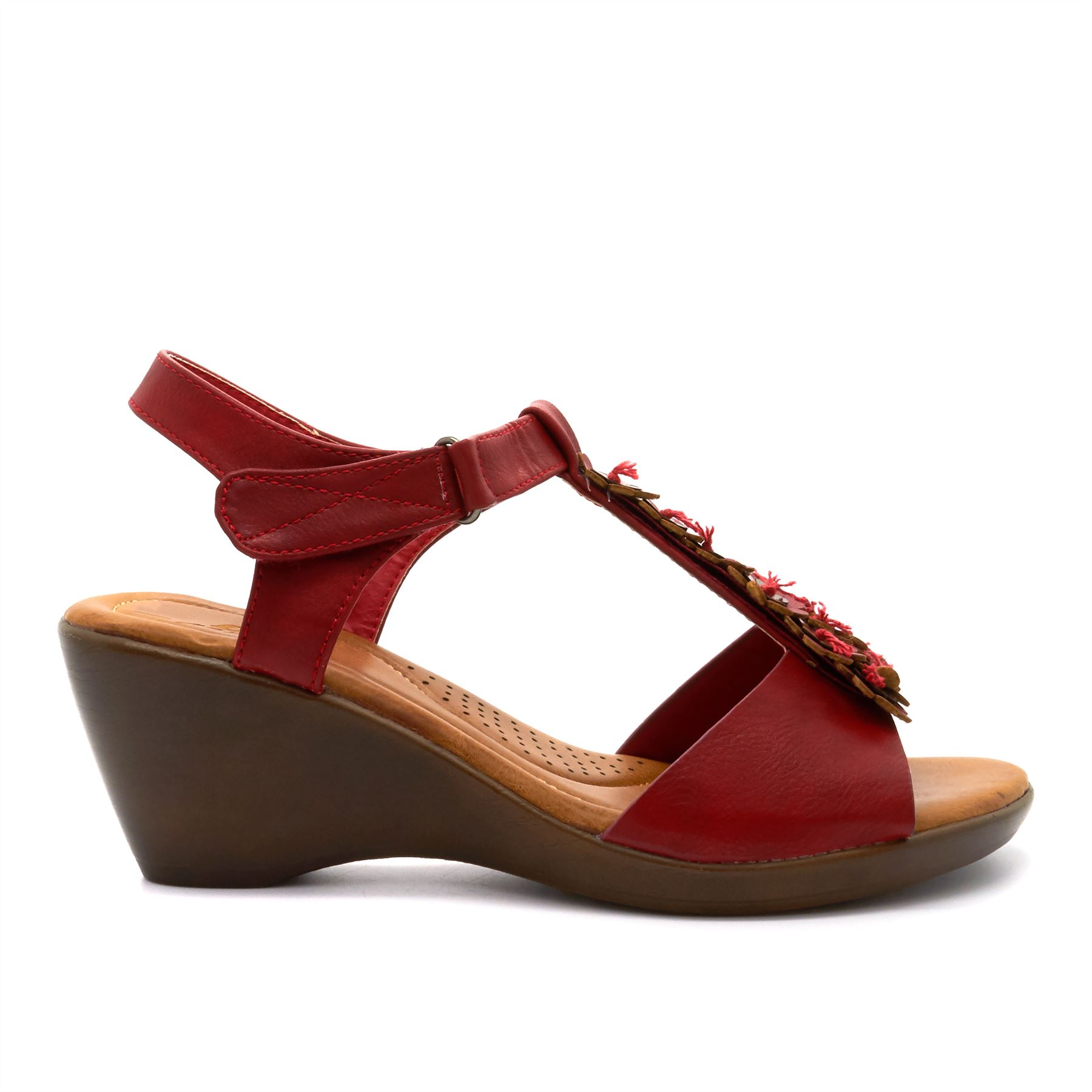 new womens low wedge heel summer sandals ankle