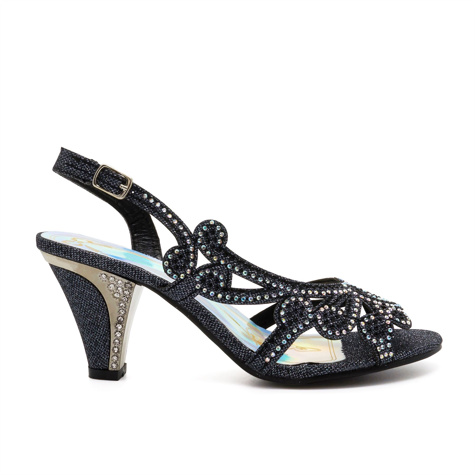 New Ladies Low Mid Kitten Heel Diamante Sandals Womens