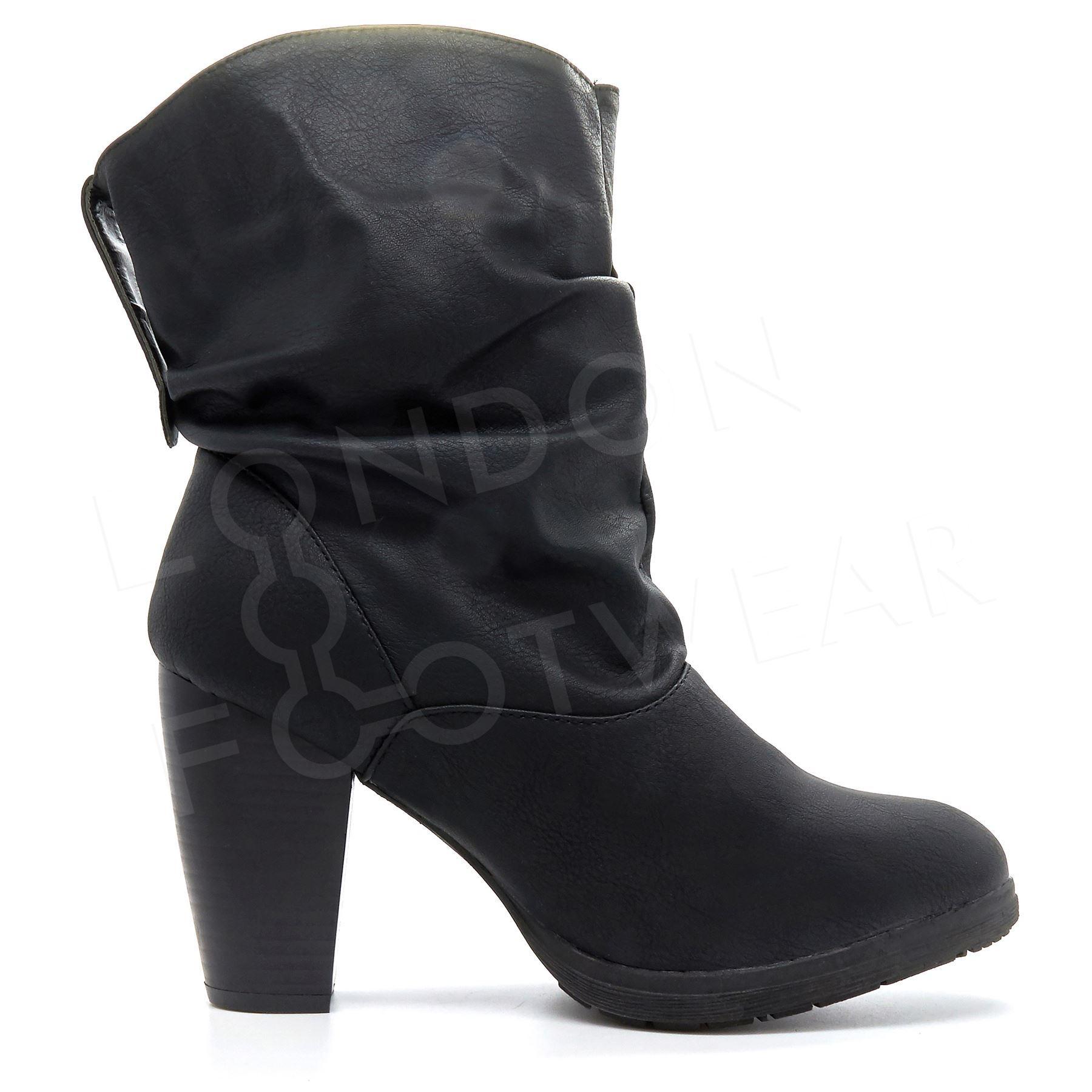 Women Classics Pull On Mid Calf Boots Shoes Mid Block Heel