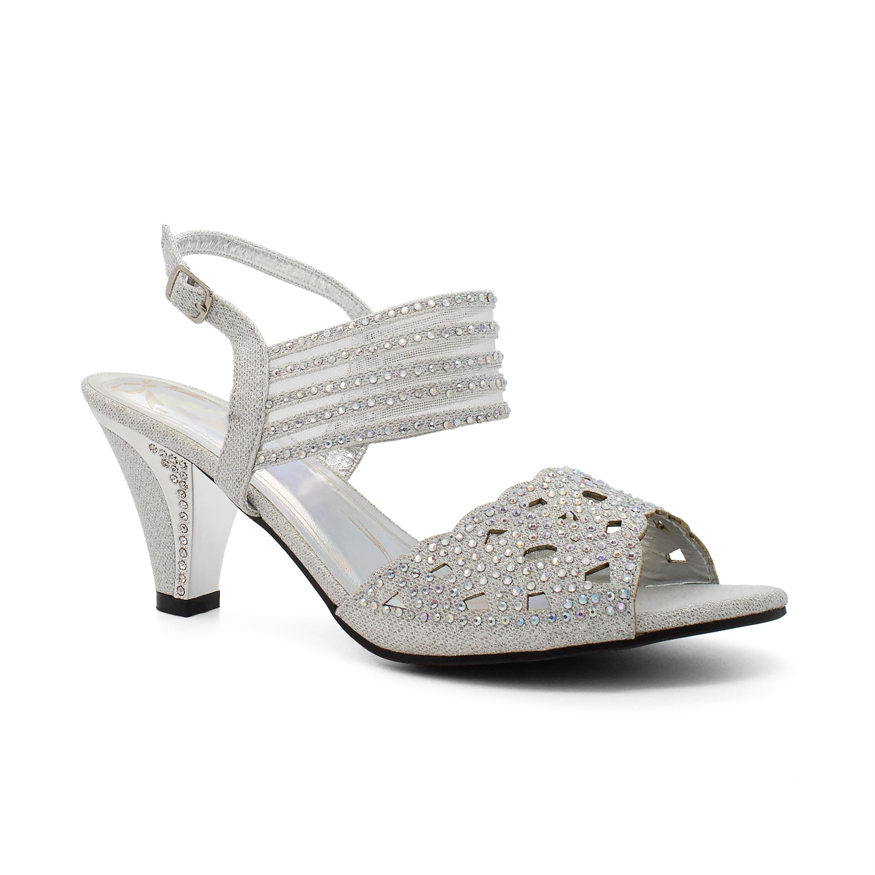 696593343b5 Ladies Diamante Low Mid Heel Wedding Sandals Womens Strappy Party Bridal  Evening UK 7 Silver. About this product. Picture 1 of 5  Picture 2 of 5 ...