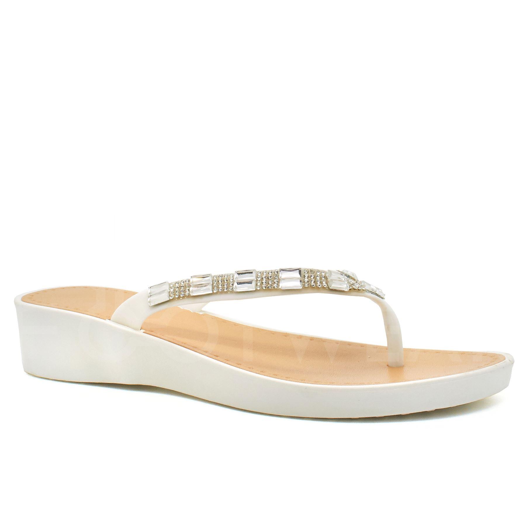 New Womens Low Wedge Heel Sandals Ladies Diamante Flip -6089