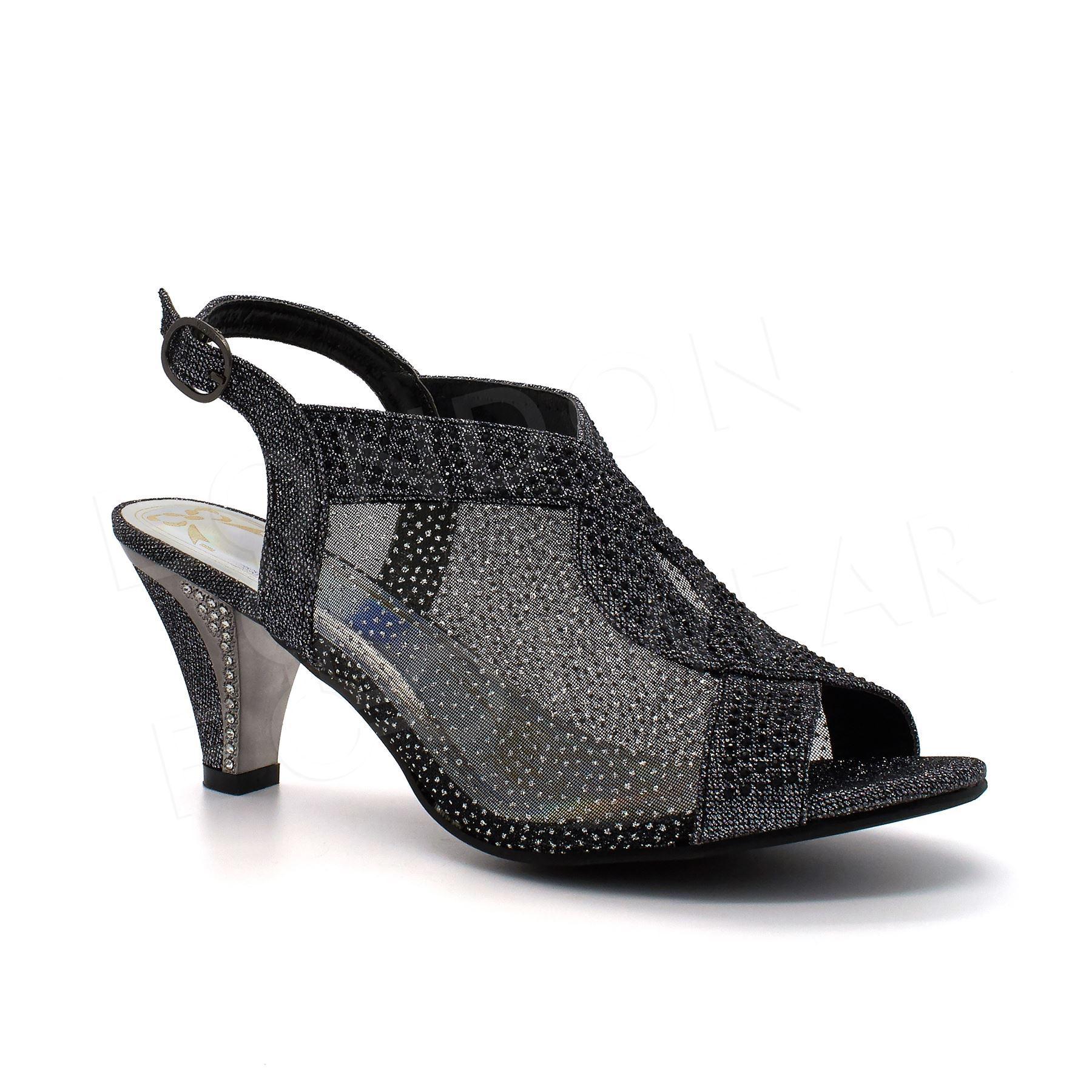 womens diamante glitter evening shoes mid heel