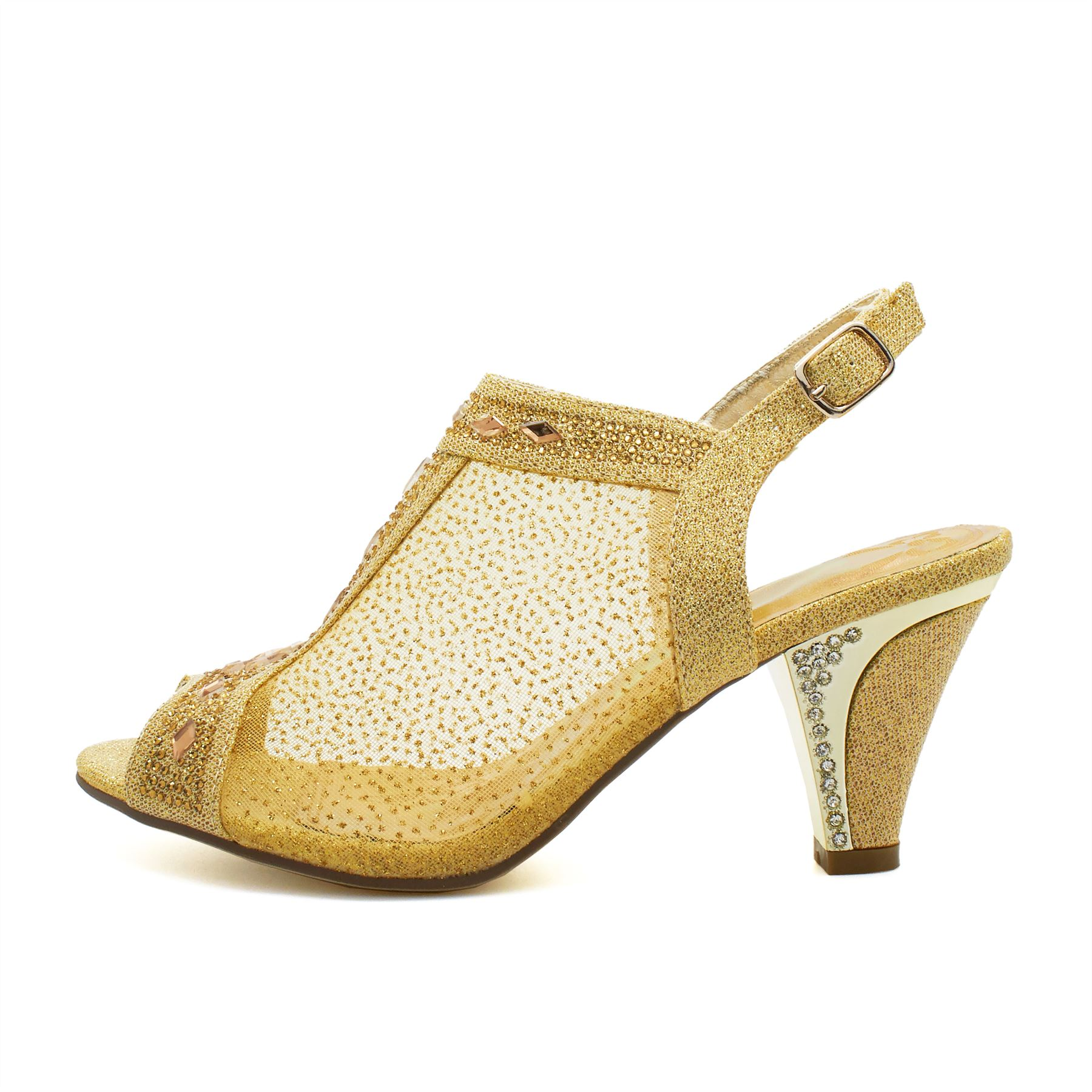 3db73a93805 Womens Ladies Diamante Mid Heel Glitter Evening Shoes Wedding Party ...