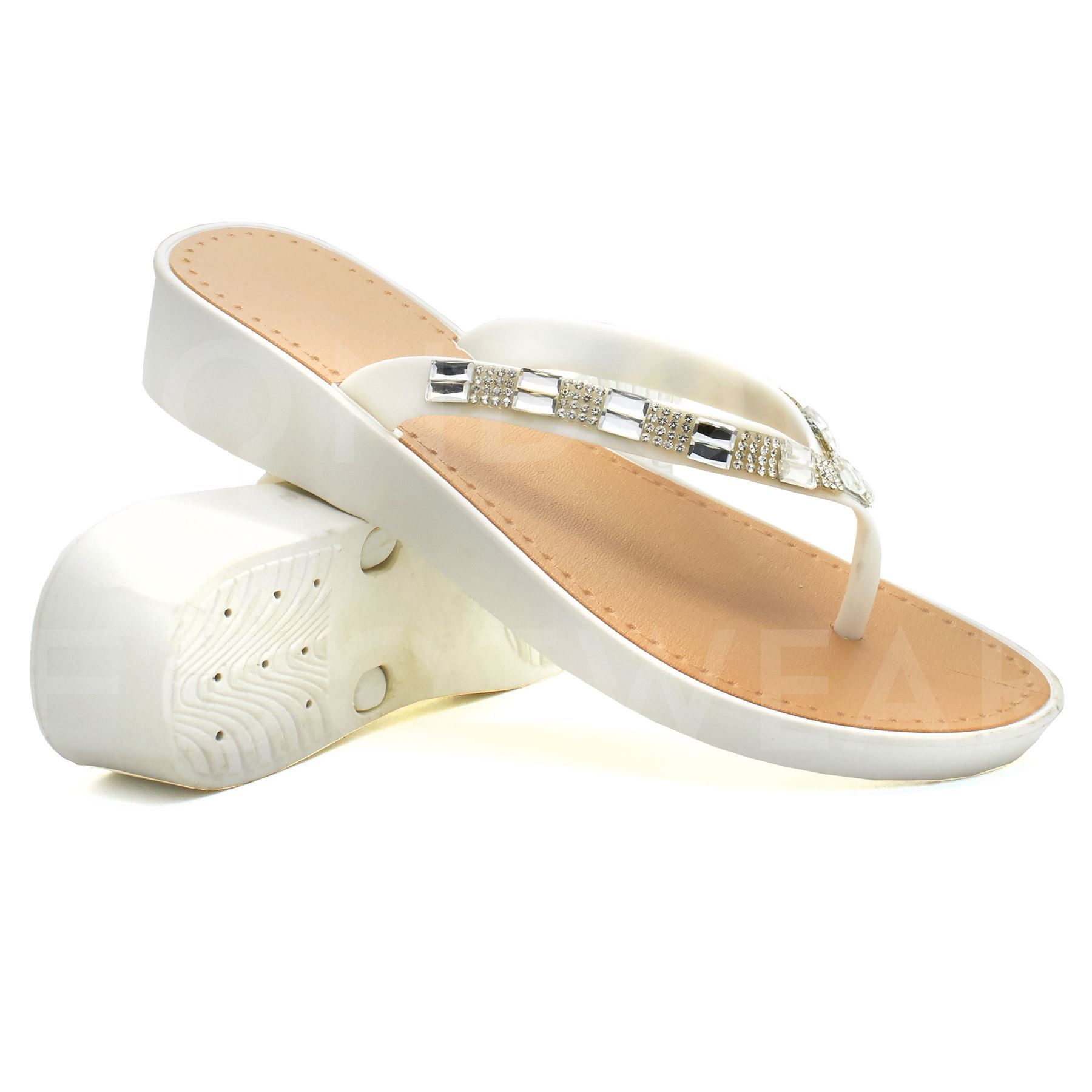 New Womens Low Wedge Heel Sandals Ladies Diamante Flip -5492