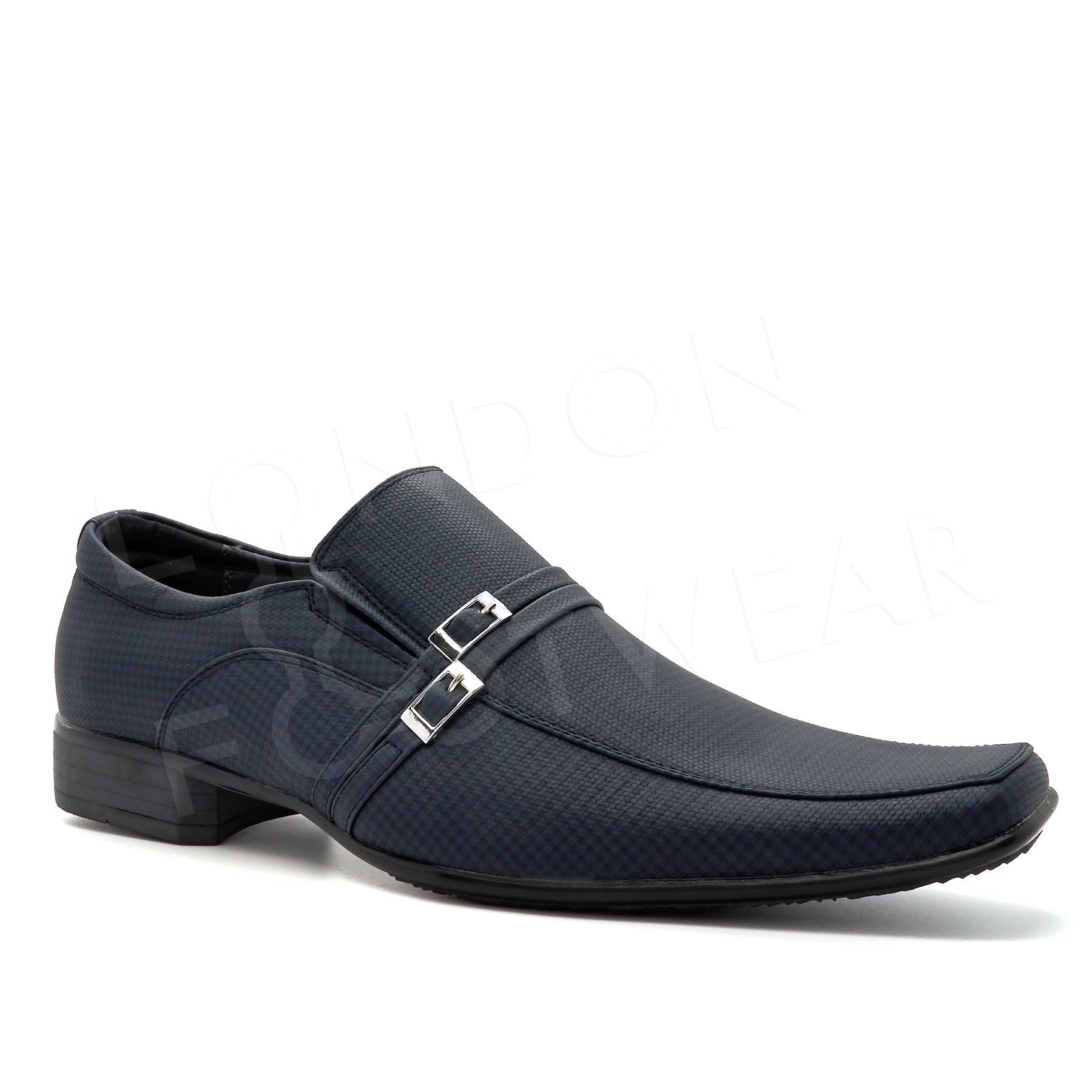 mens new wedding smart dress slip on black formal shoes uk