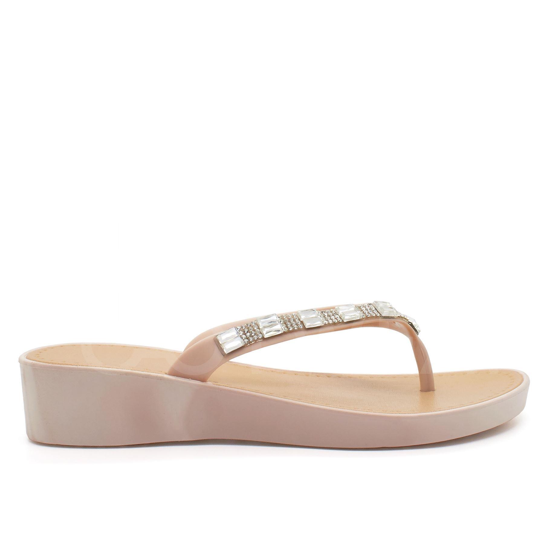 New Womens Low Wedge Heel Sandals Ladies Diamante Flip -1608