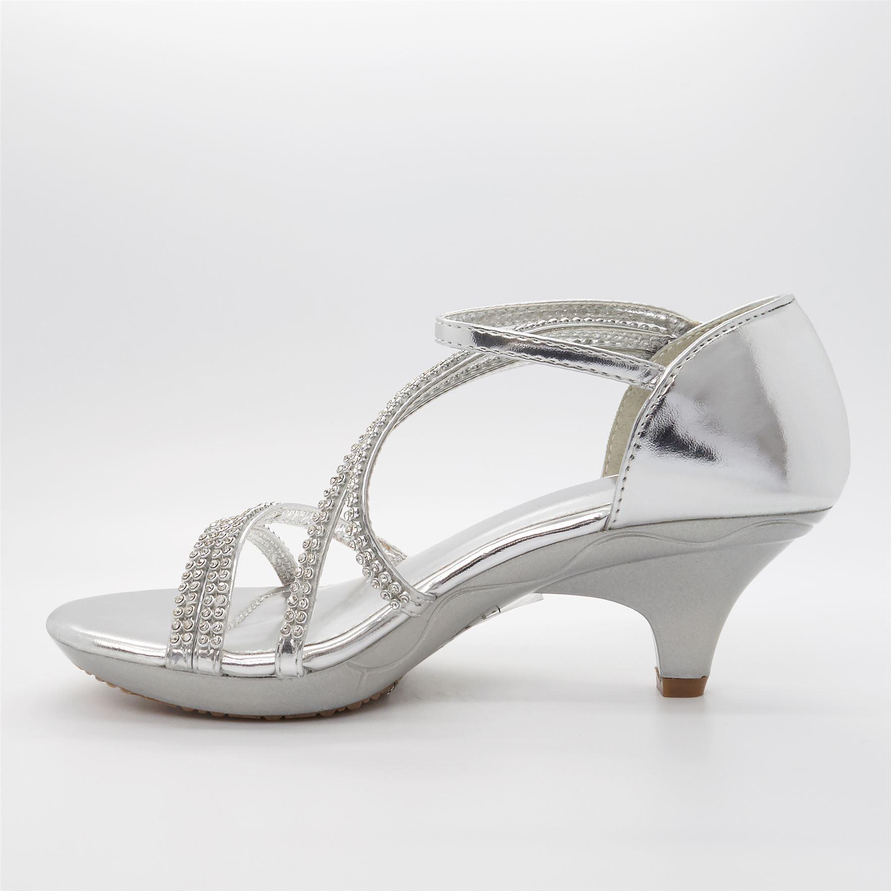 d3e175985382 Childrens Bridesmaid Low Kitten Heel Diamante Sandals Girls Kids ...