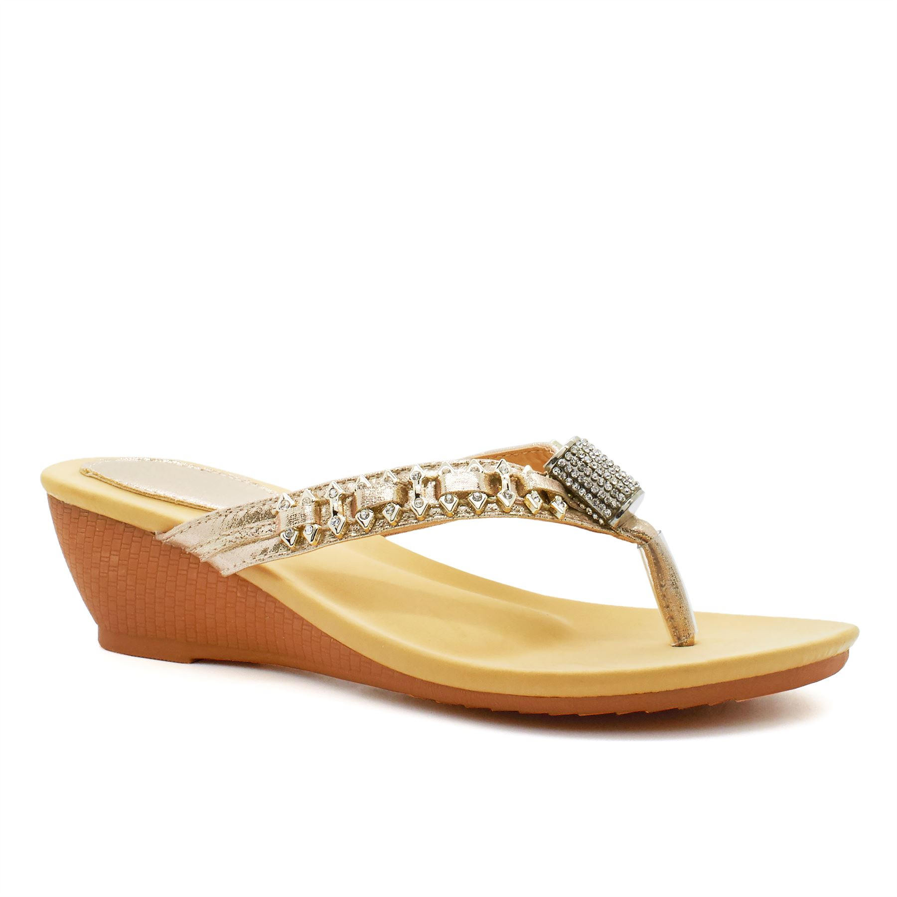 Nuevas señoras Diamante Baja Sandalias de tacón con plataforma para mujeres verano vacaciones Toe Post Reino Unido 3-8