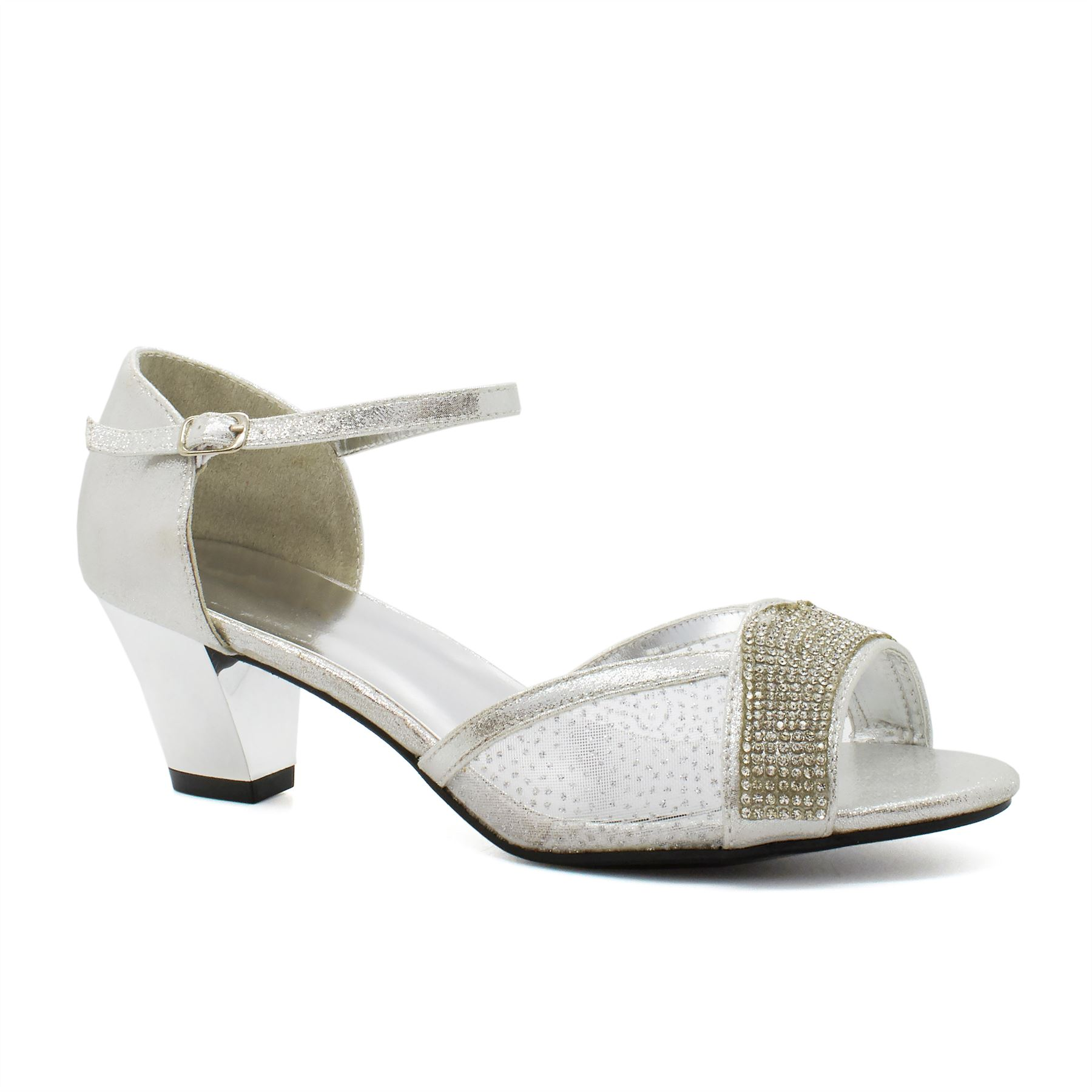 Strappy Wedding Shoes | New Womens Low Kitten Heel Bridal Diamante Sandals Ladies Strappy