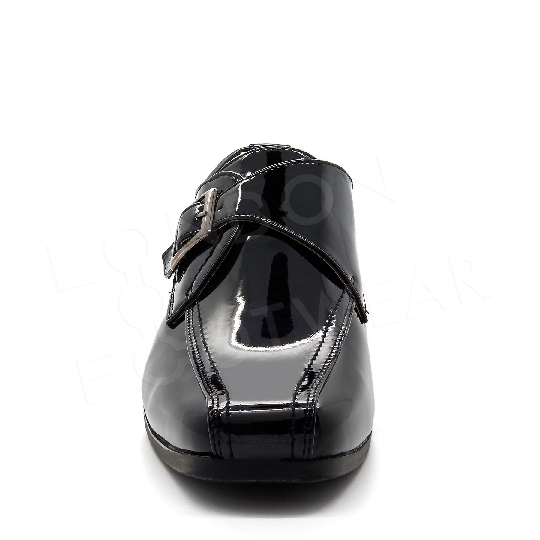 New Boys Formal Black Patent Slip On Shoes Kids Smart Dress Party Wedding Buckle