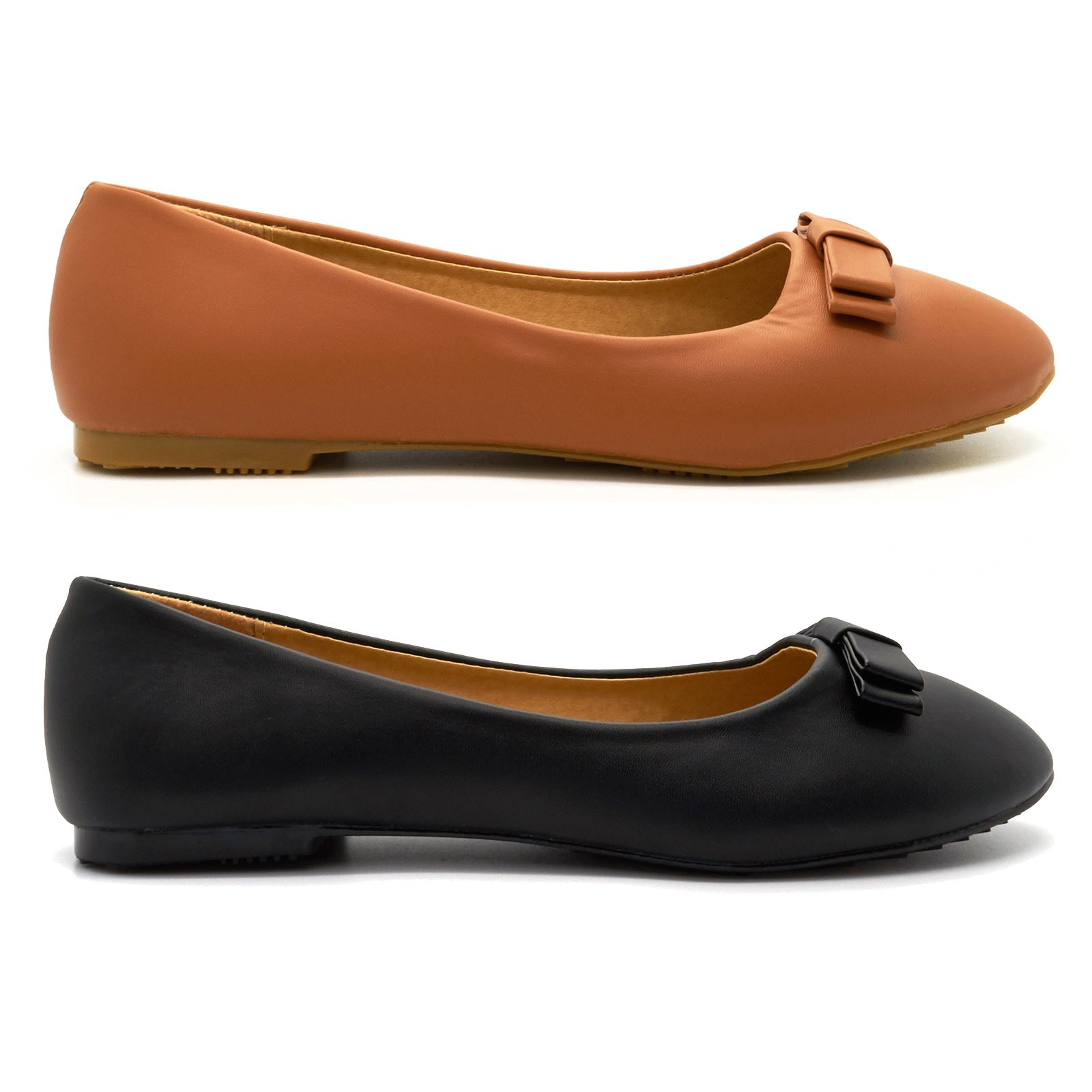 New Womens Plain Ballet Pumps Ladies Flat Ballerina Dolly Shoes Work Size UK 3-8
