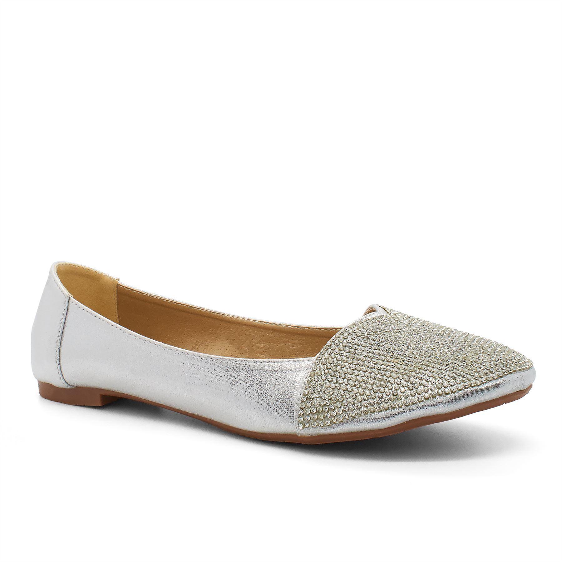 New Womens Flat Diamante Pumps UK Bridal Shoes Size Ballet Dolly Ballerina Slip | EBay