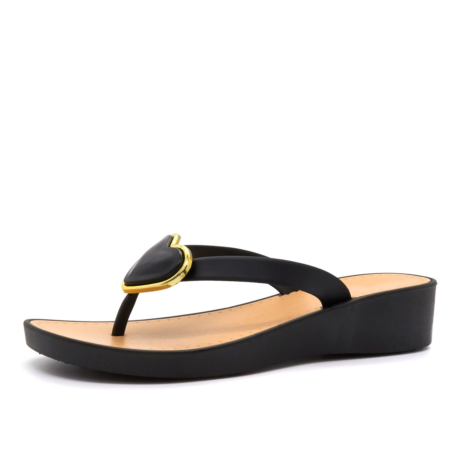 Nuevas chanclas flip flop para mujer con taco bajo Toe Post Sandalias de playa de verano señoras UK 3-8