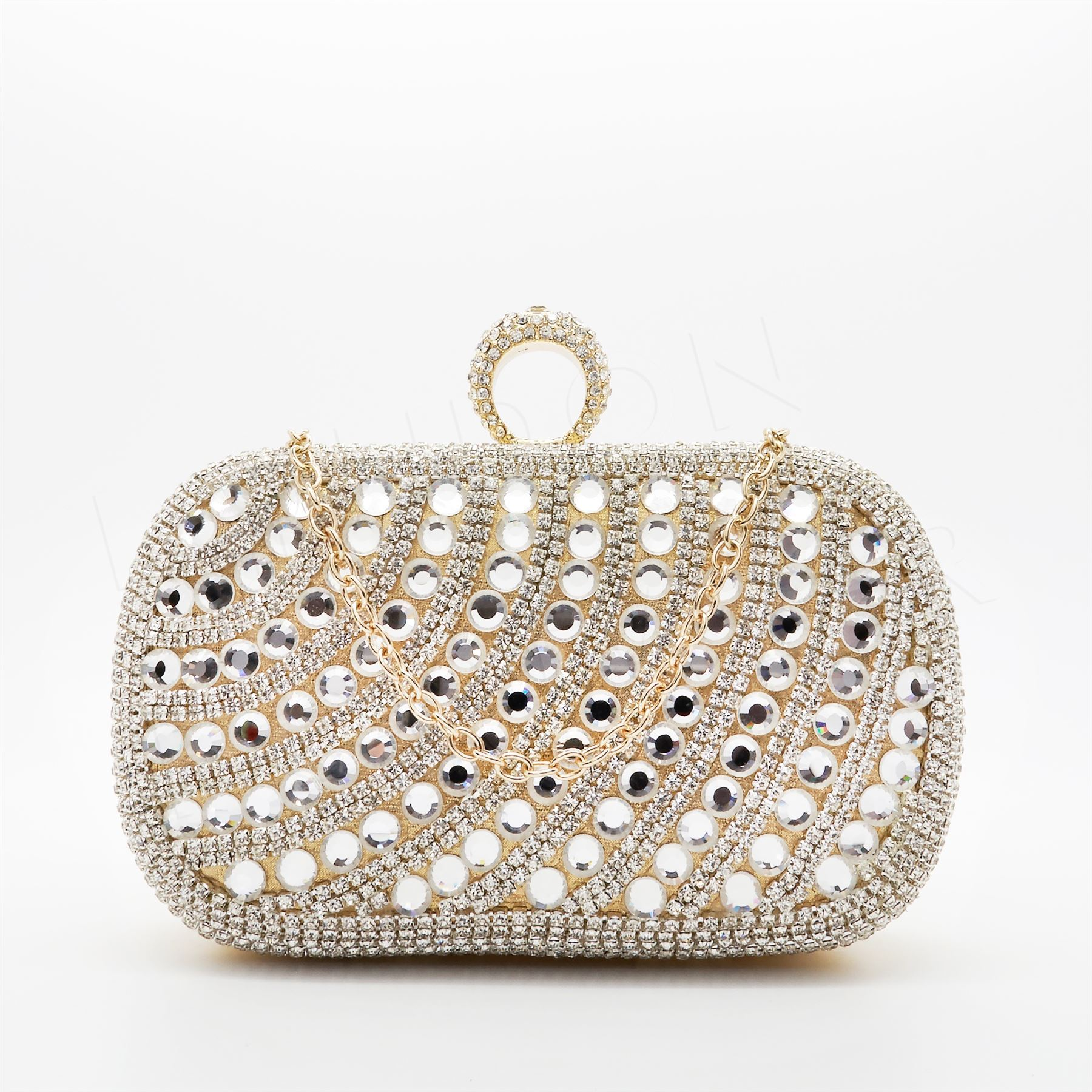 f2b1d0df44 New Silver Ladies Diamante Crystal Evening Clutch Purse Bag Party ...