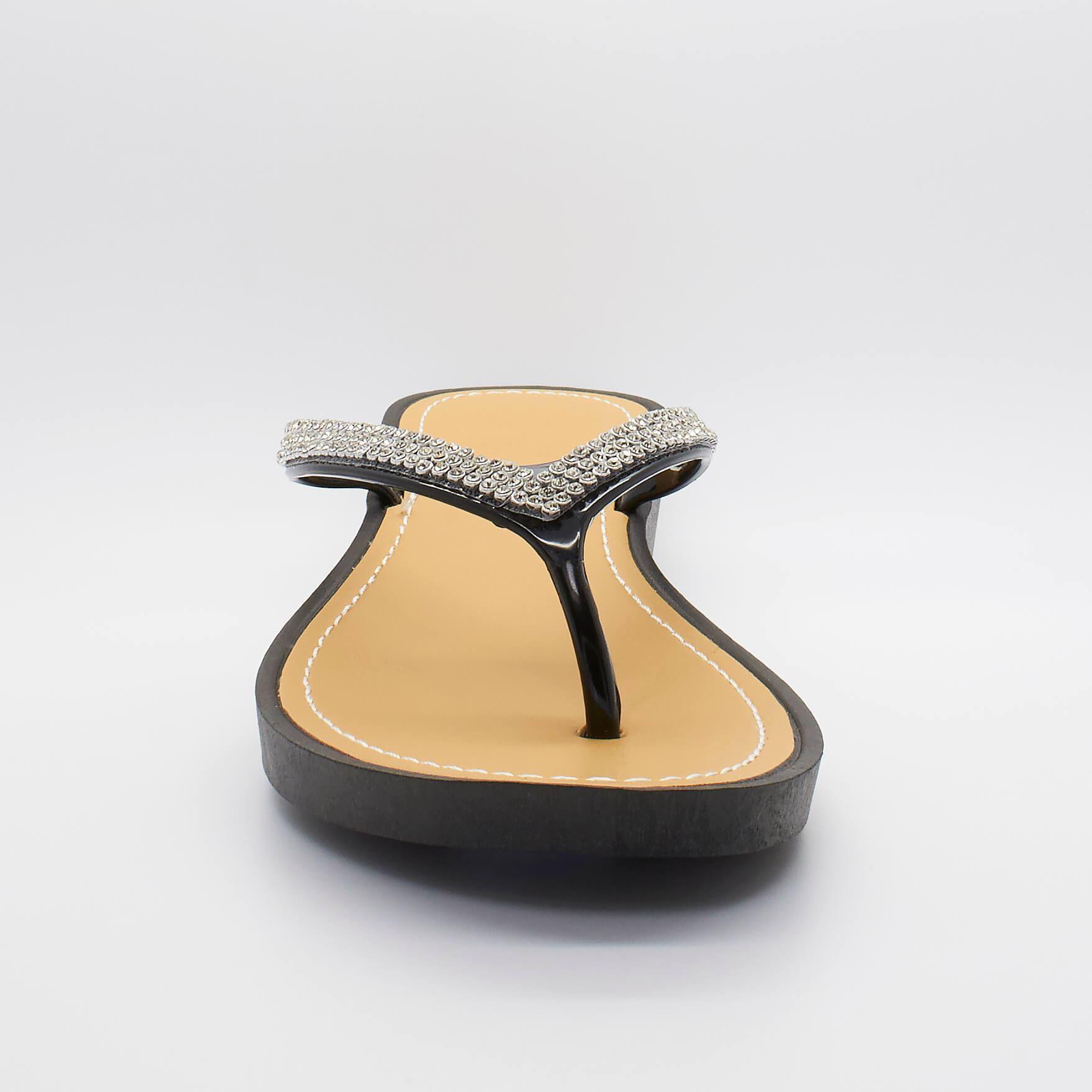 Womens New Ladies Low Wedge Diamante Sandals Toe Post Flip -7559