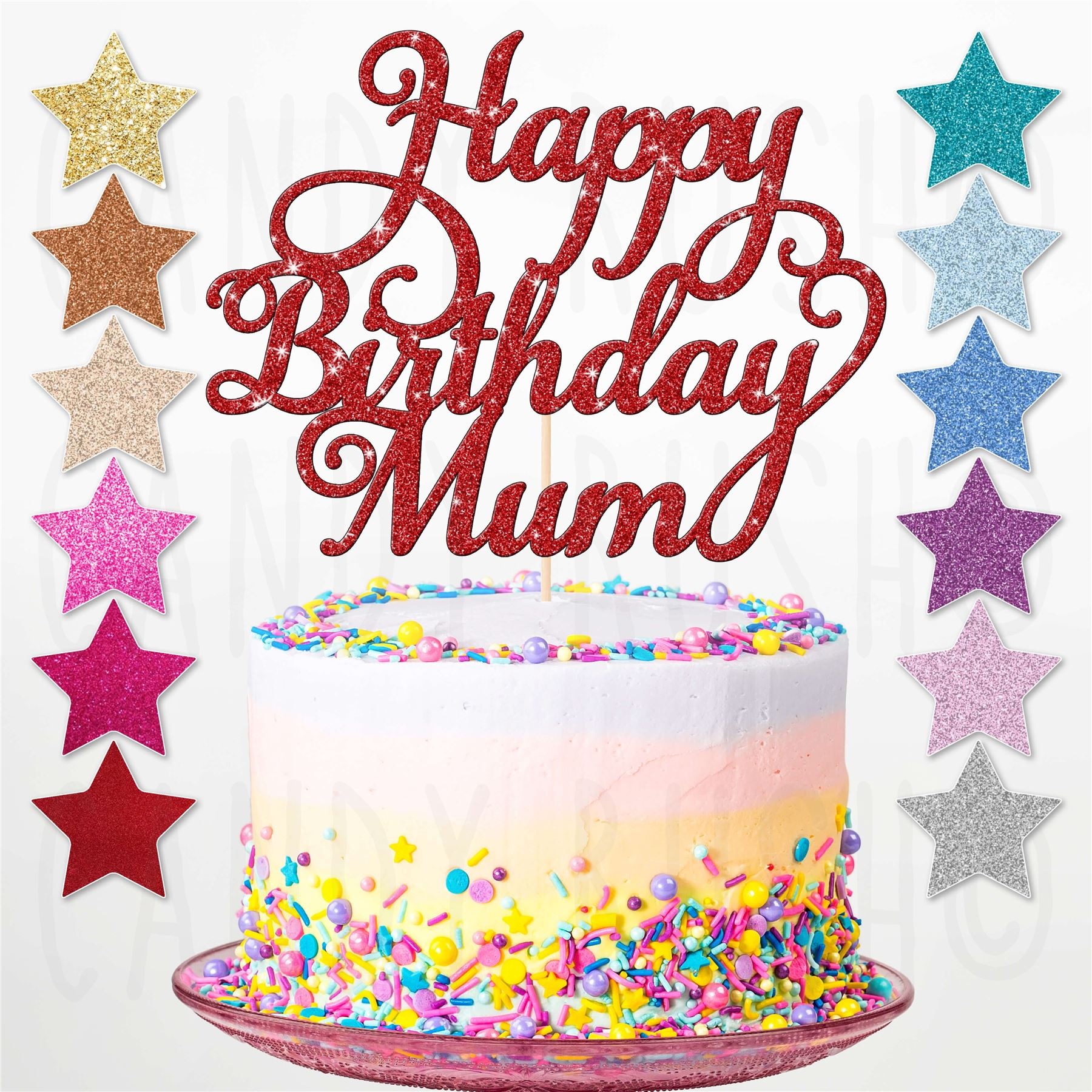 Personalised Birthday Cake Topper Custom Name And Age 1 18 21 30