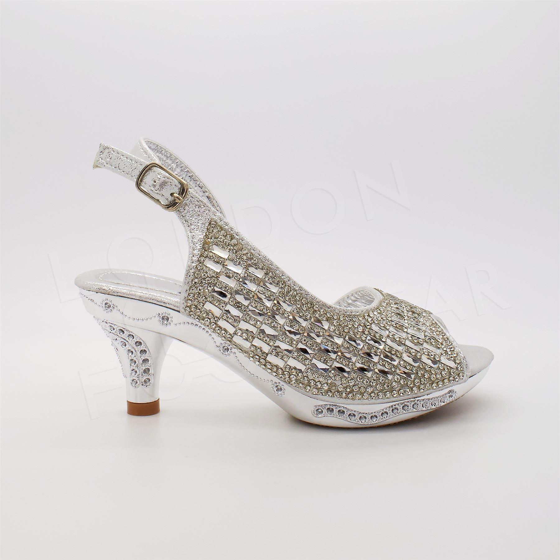 Girls Diamante Bridal Sandals Childrens Kids Wedding Party Low Kitten Heel Shoes