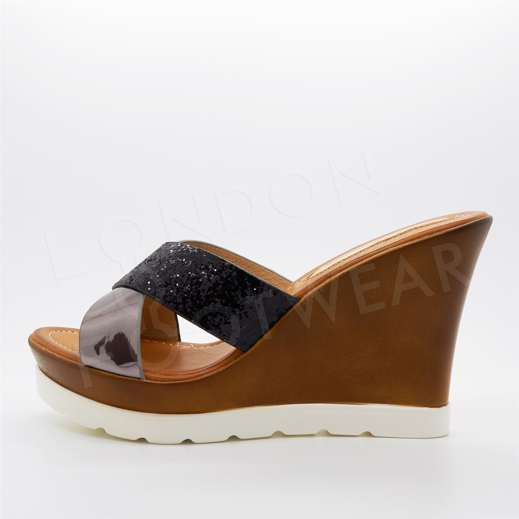 156b94c2f27e Womens Wedge Heel Platform Sandals Ladies Chunky Cleated Sole Slip ...