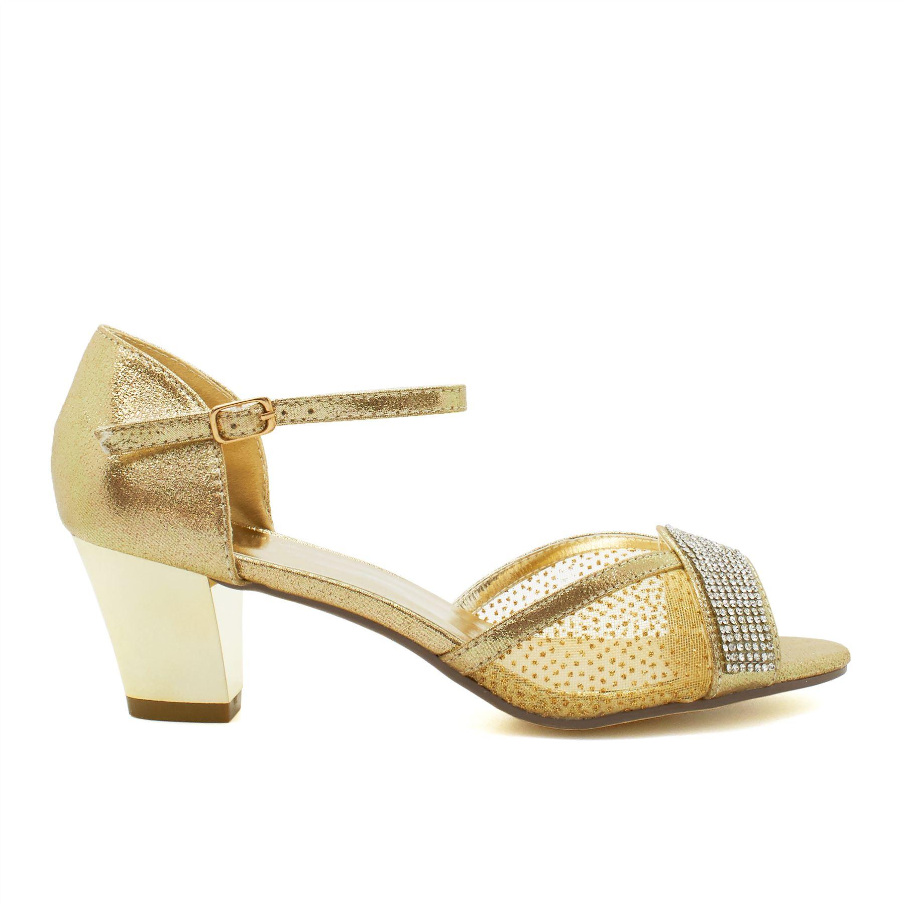 ab632c17931 New Womens Low Kitten Heel Bridal Diamante Sandals Ladies Strappy ...