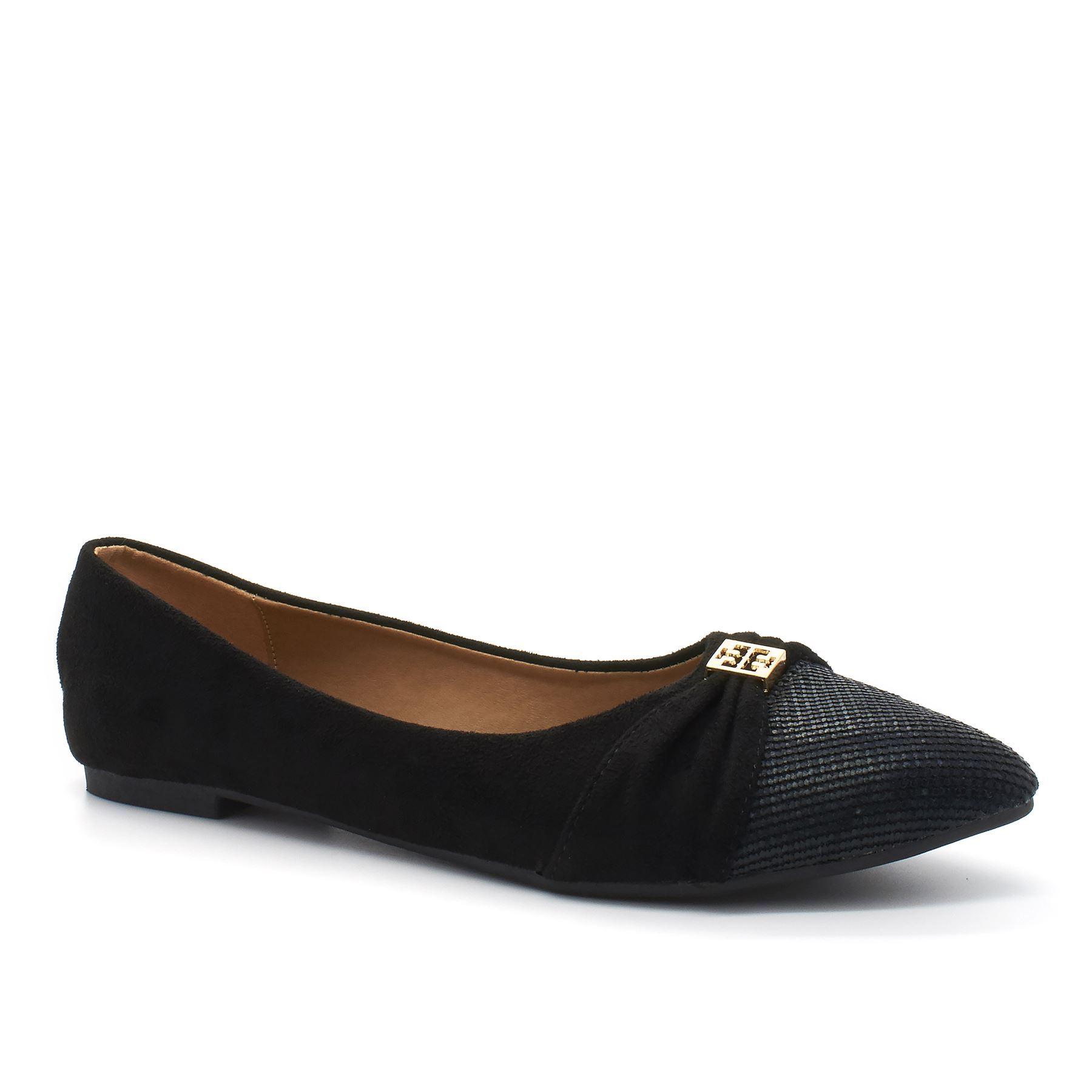 Zapatos de ballet negro ante punta de diamantes de imitación del resbalón en las bombas planas para las mujeres 9gn7z5