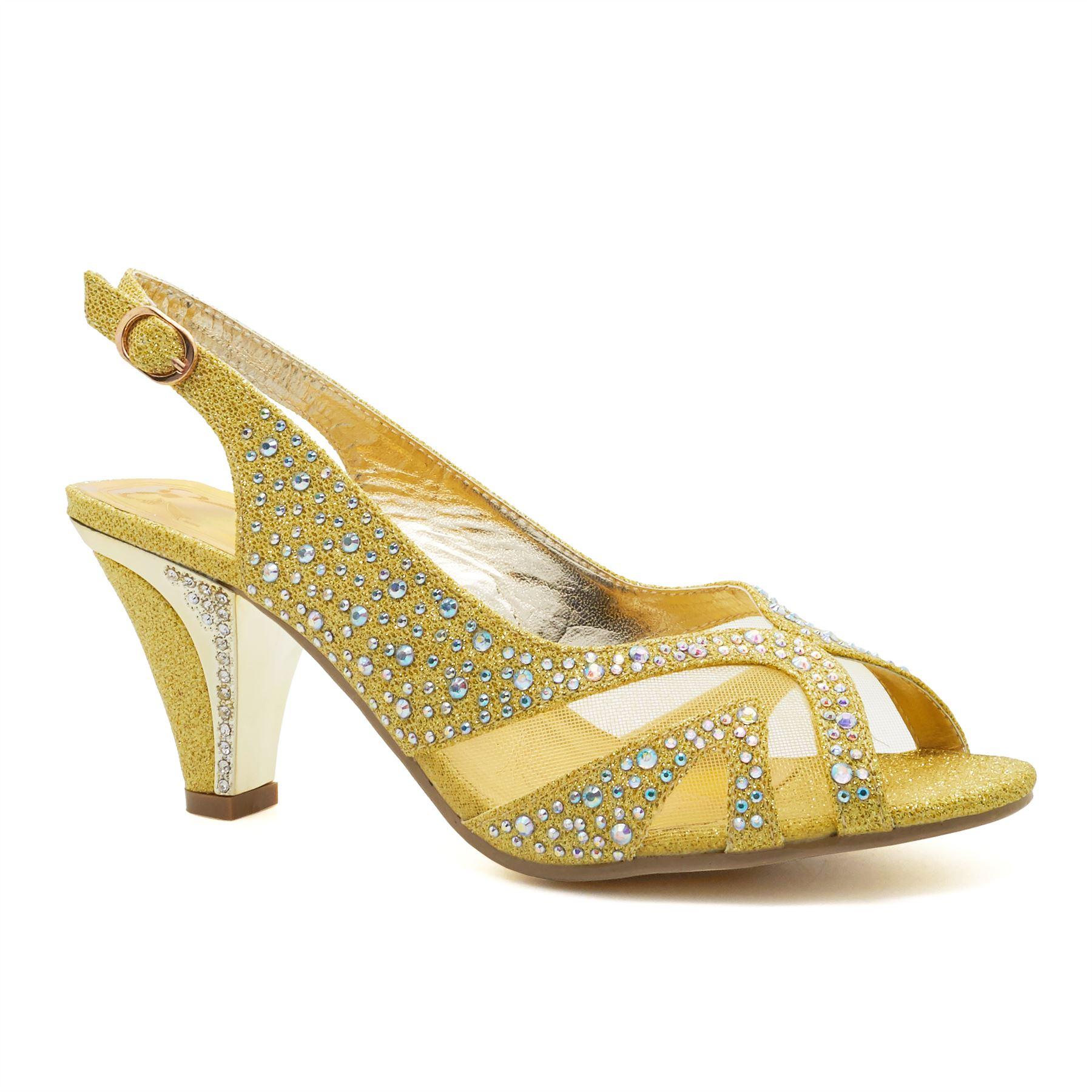 New Womens Low Mid Kitten Heel Diamante Sandals