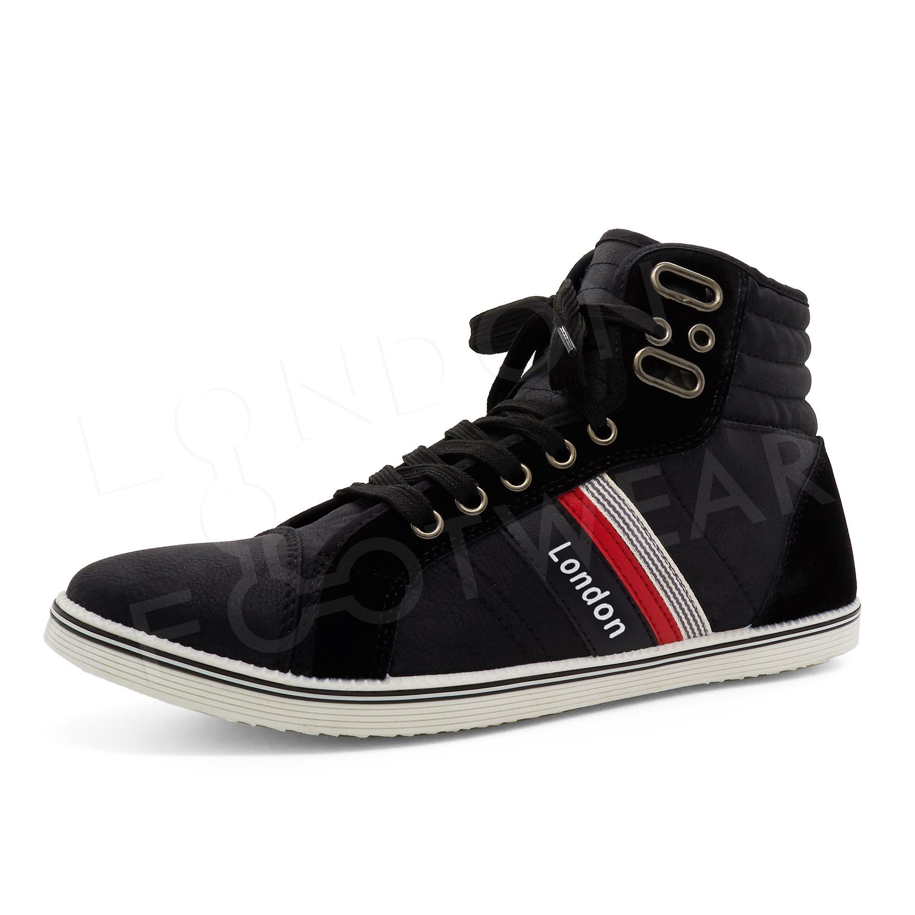 mens designer hi high tops ankle trainers boots flat