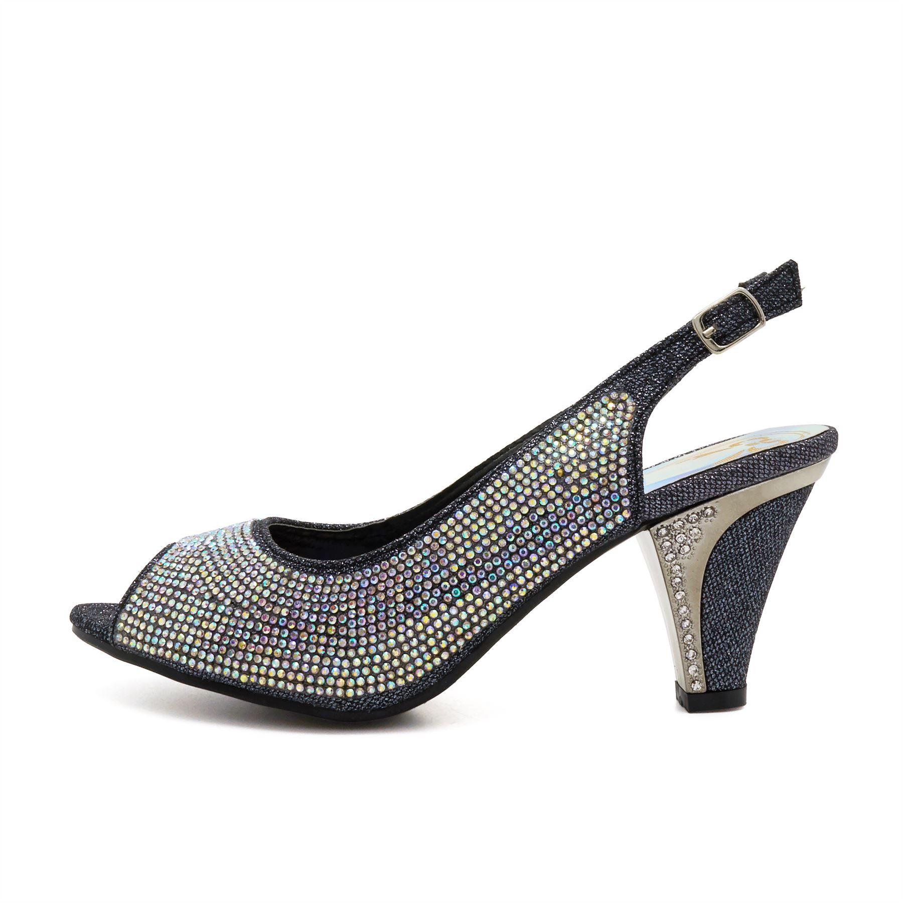 950058cff62 New Womens Diamante Low Mid Kitten Heels Sandals Ladies Bridal ...