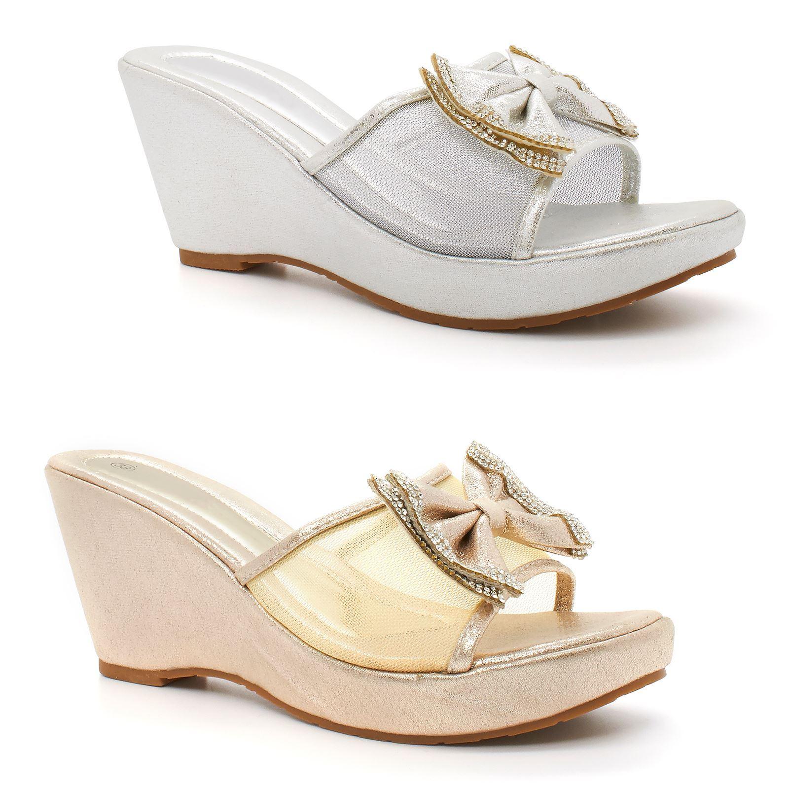 d769481c249 Womens Lades Summer Beach Diamante Wedge Bow Sandals Flip Shoes Size ...